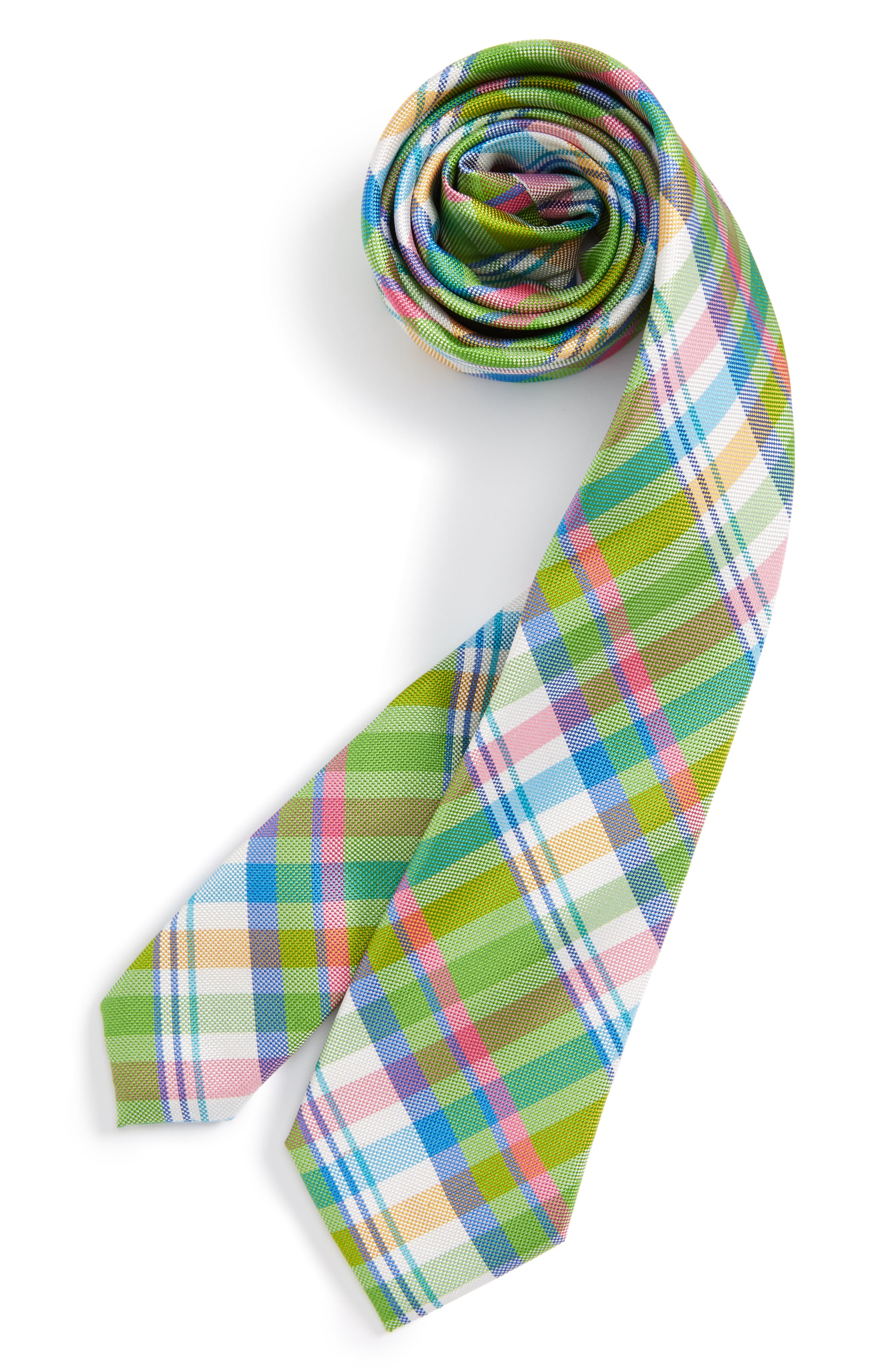 Plaid Silk Tie,                         Main,                         color, Green- Pink Plaid