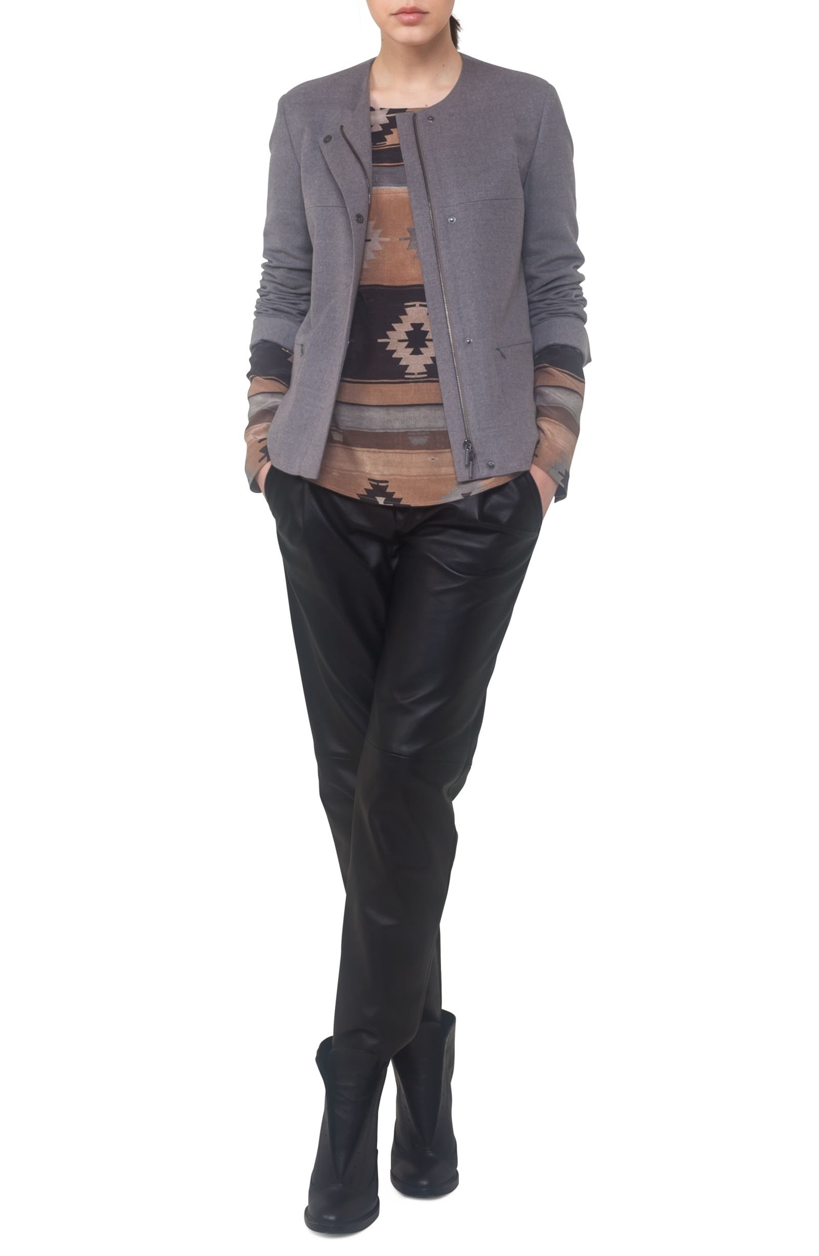 Wool A-Line Jacket,                             Alternate thumbnail 4, color,                             Stone