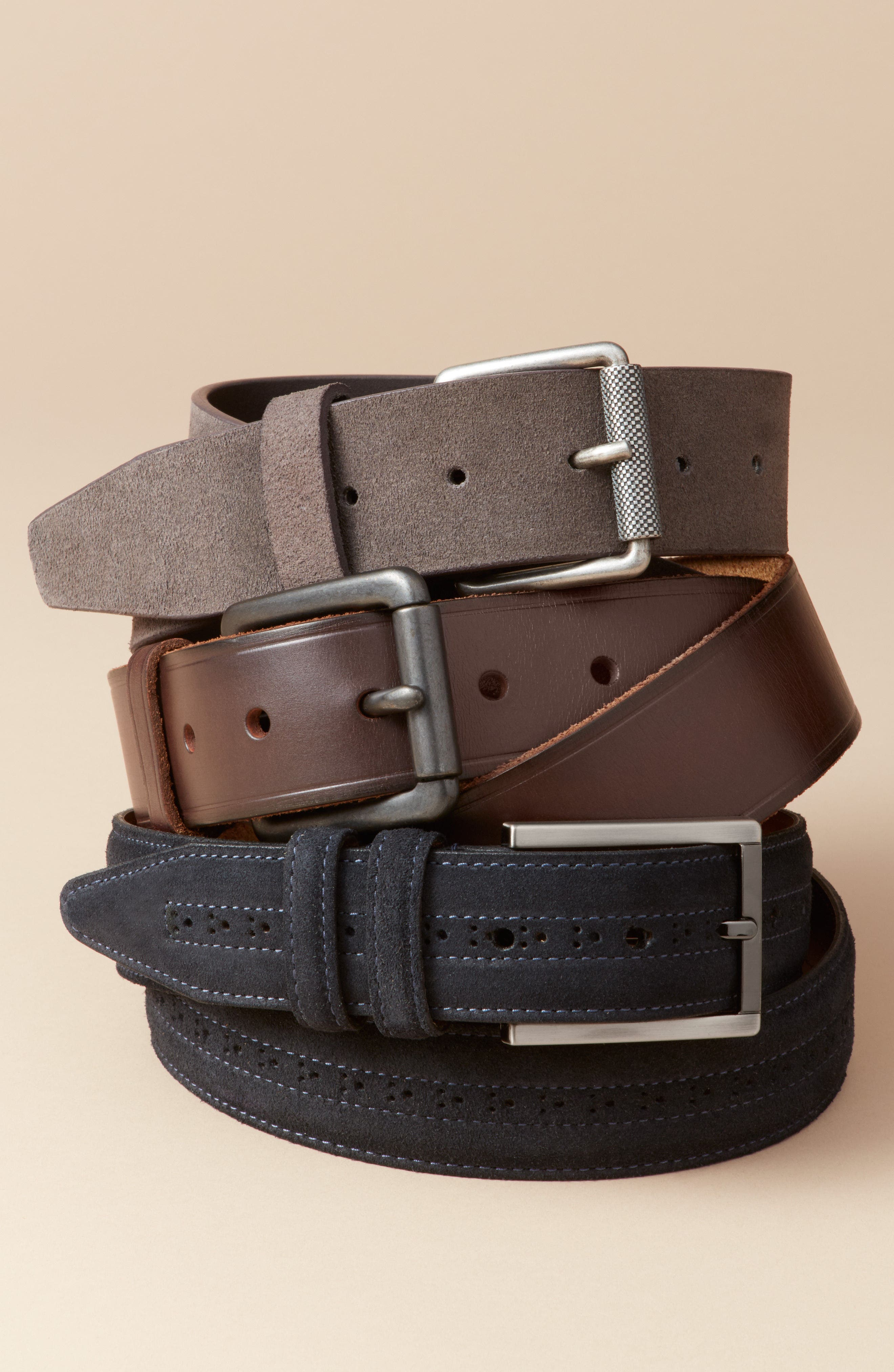 Adrian Roller Buckle Suede Belt,                             Alternate thumbnail 3, color,