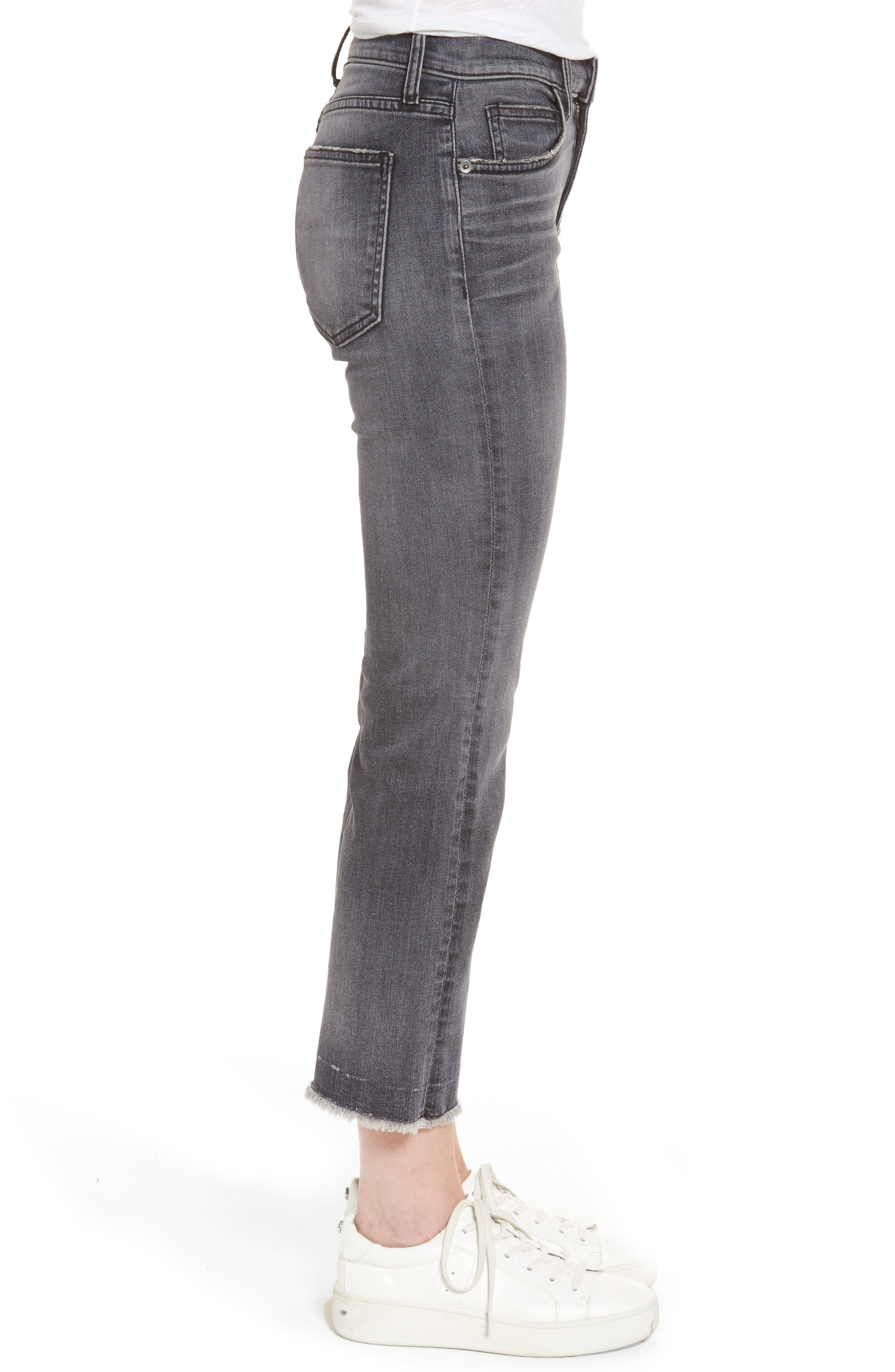 The Kick Raw Hem Crop Jeans,                             Alternate thumbnail 3, color,                             Everett W/ Raw Hem