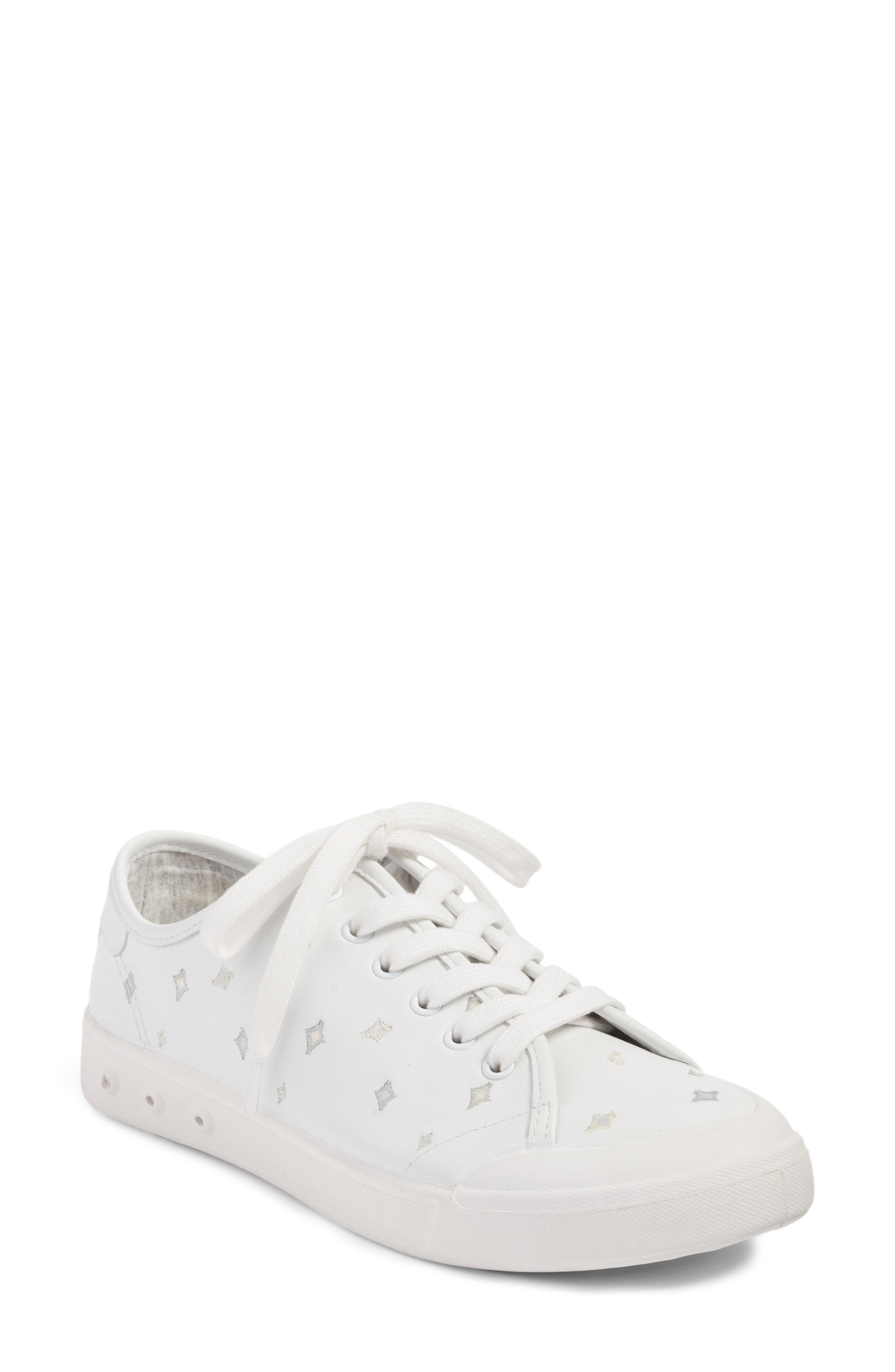 Embroidered Standard Issue Sneaker,                             Main thumbnail 1, color,                             White Leather Embroidery