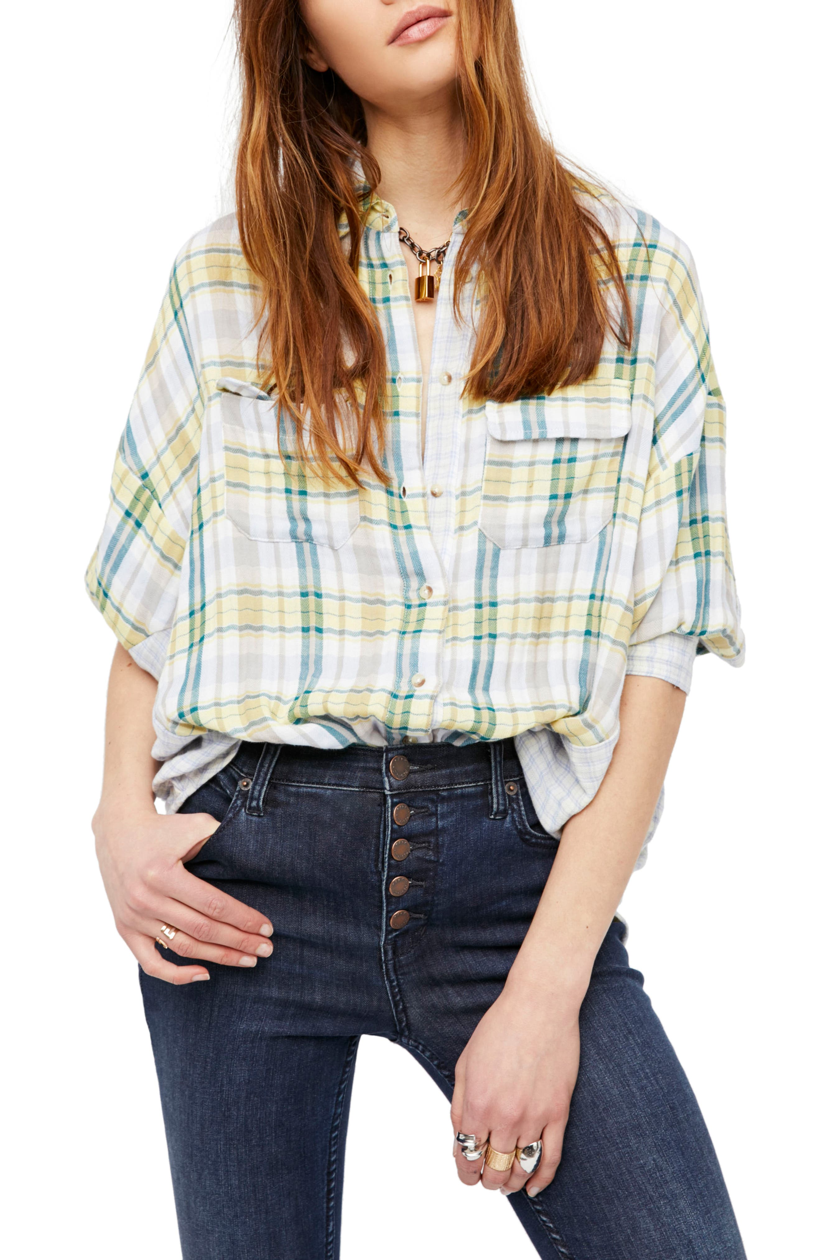Free People One of the Guys Plaid Shirt
