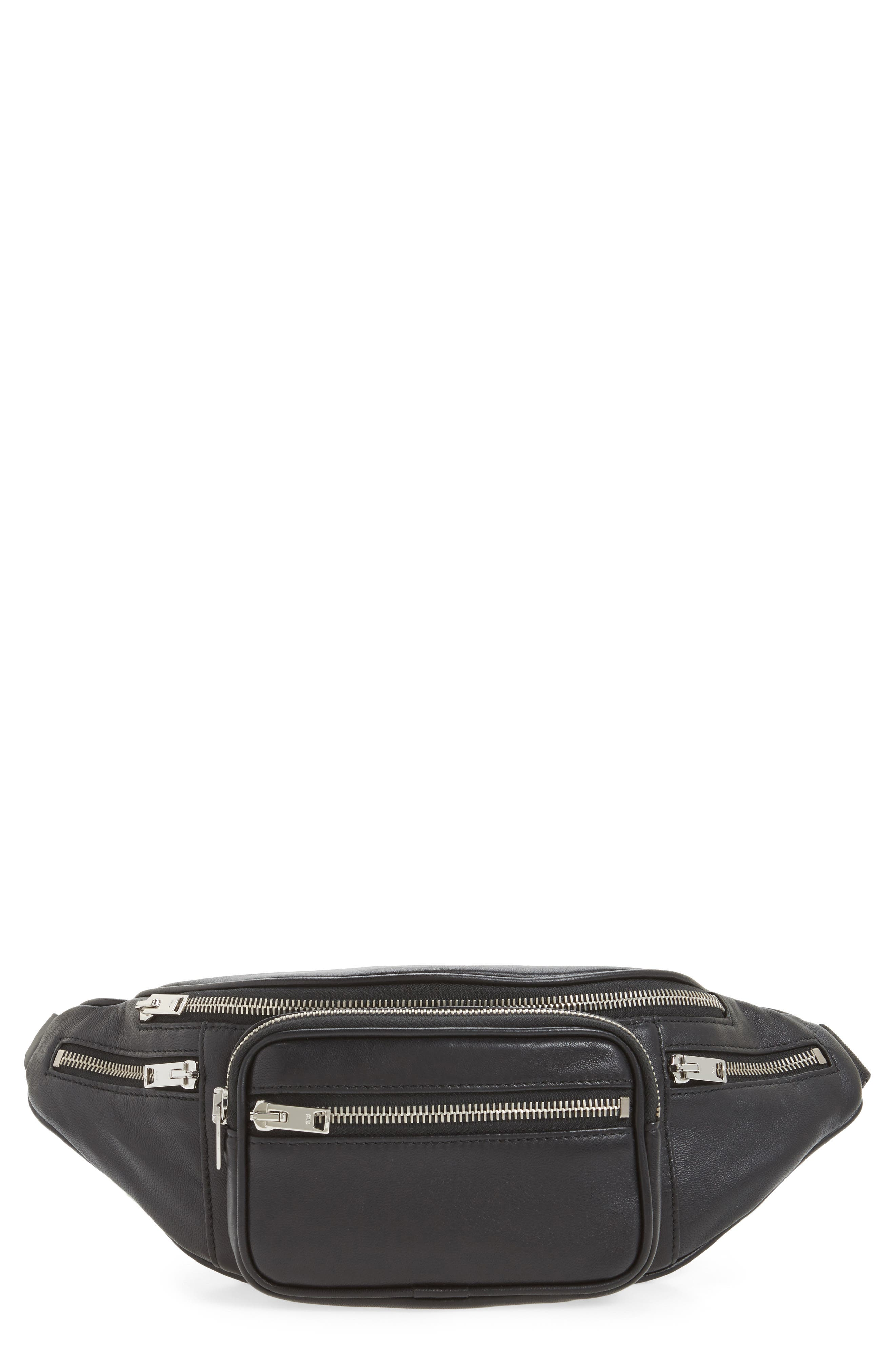 Washed Leather Fanny Pack,                             Main thumbnail 1, color,                             Black
