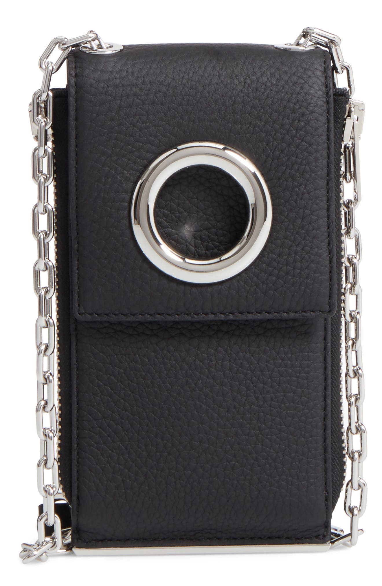Riot Leather Wallet on a Chain,                             Main thumbnail 1, color,                             Black