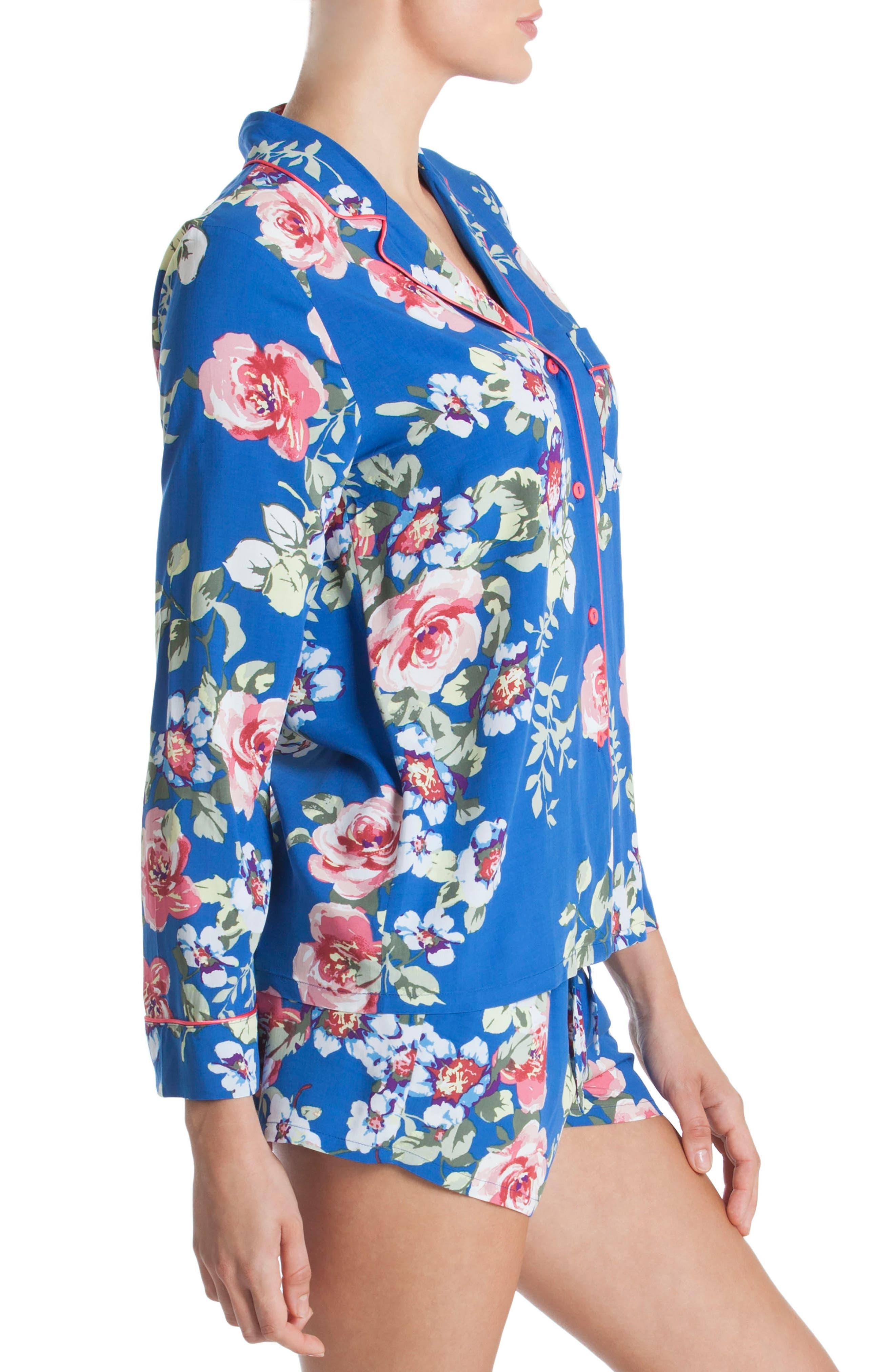 Short Pajamas,                             Alternate thumbnail 3, color,                             Blue Floral