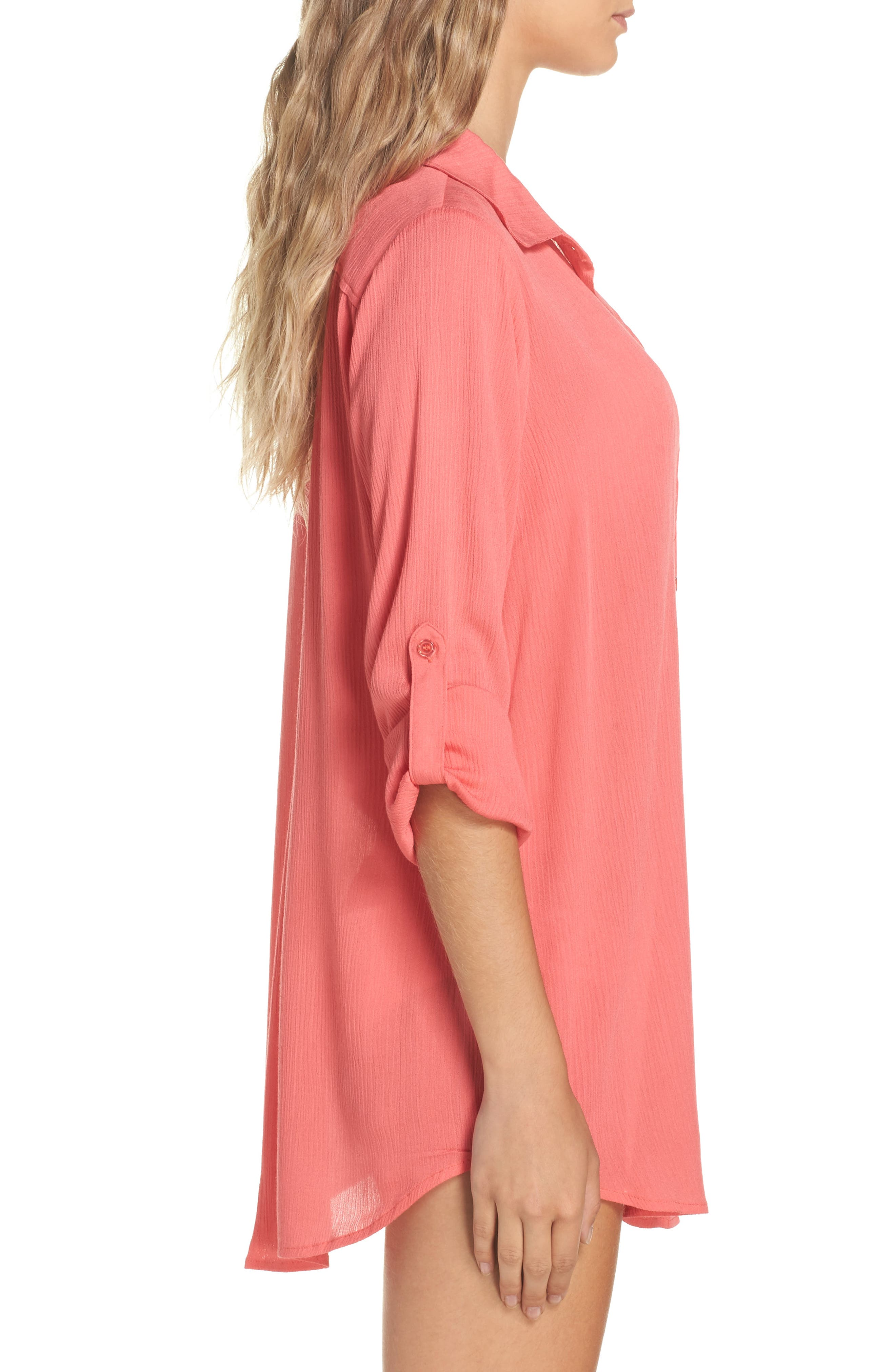 Big Sur Cover-Up Tunic,                             Alternate thumbnail 3, color,                             Coral