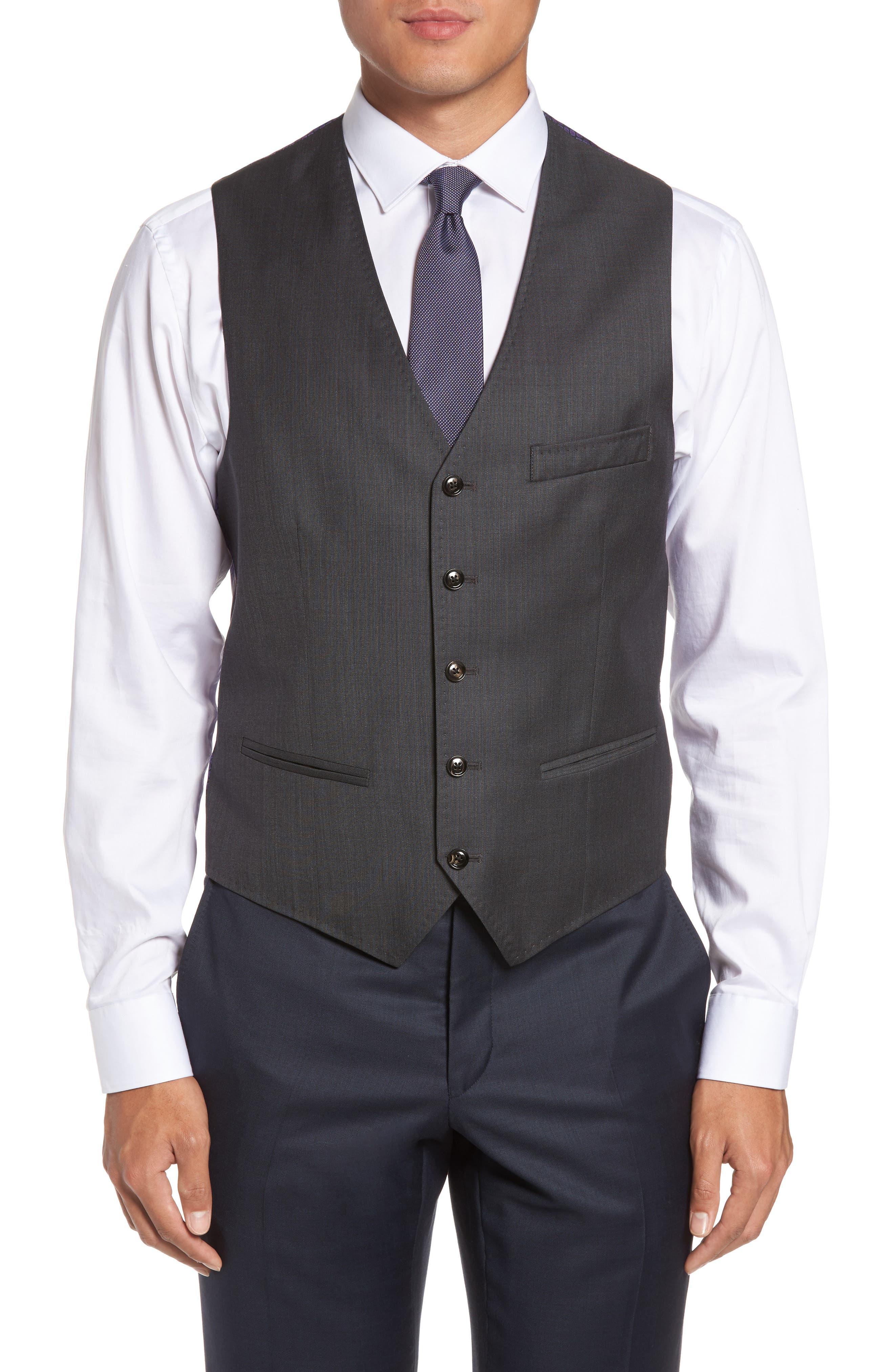 Ted Baker London Troy Trim Fit Solid Wool Vest