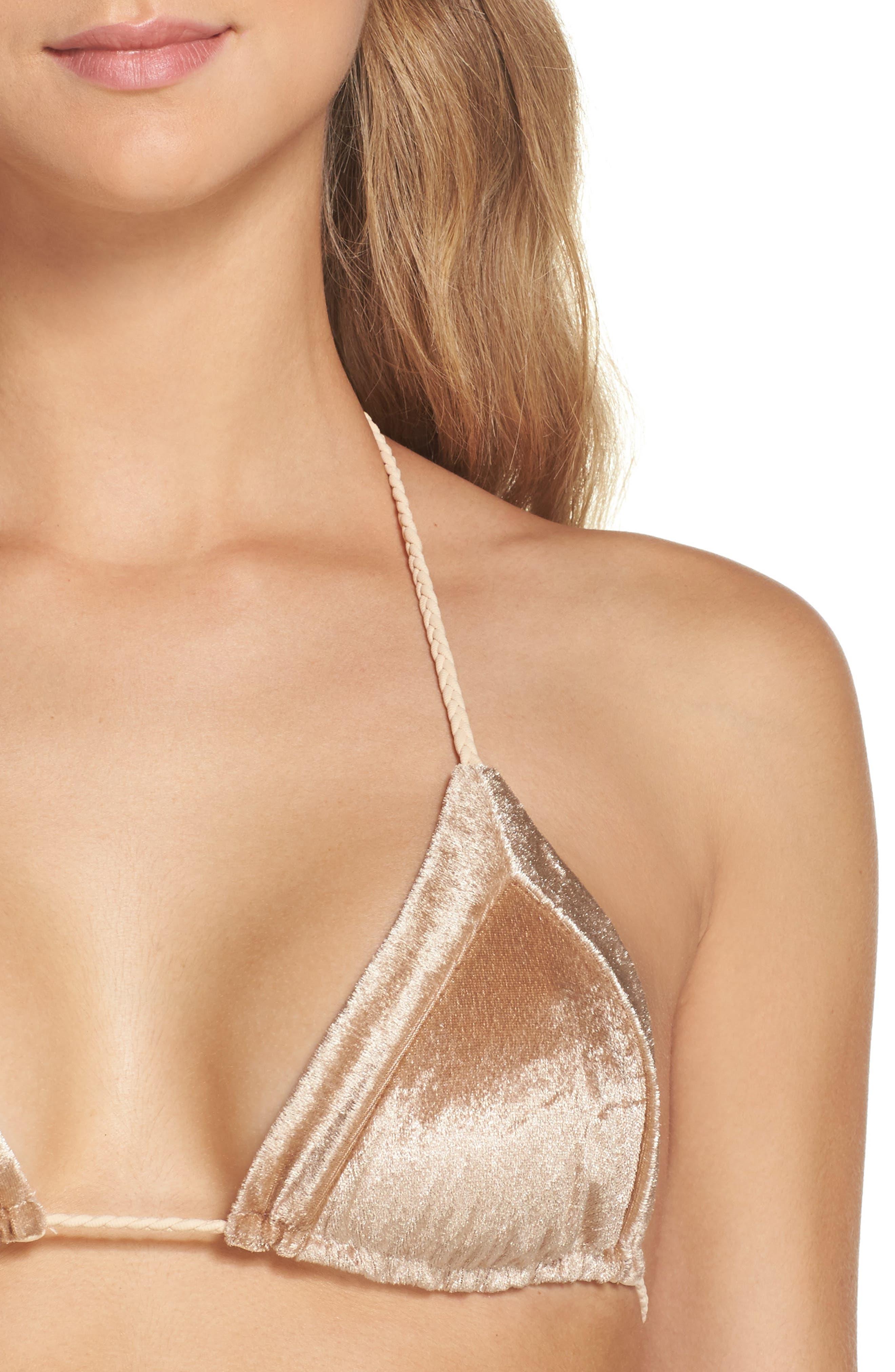Alternate Image 4  - Frankies Bikinis Knox Crushed Velvet Triangle Bikini Top