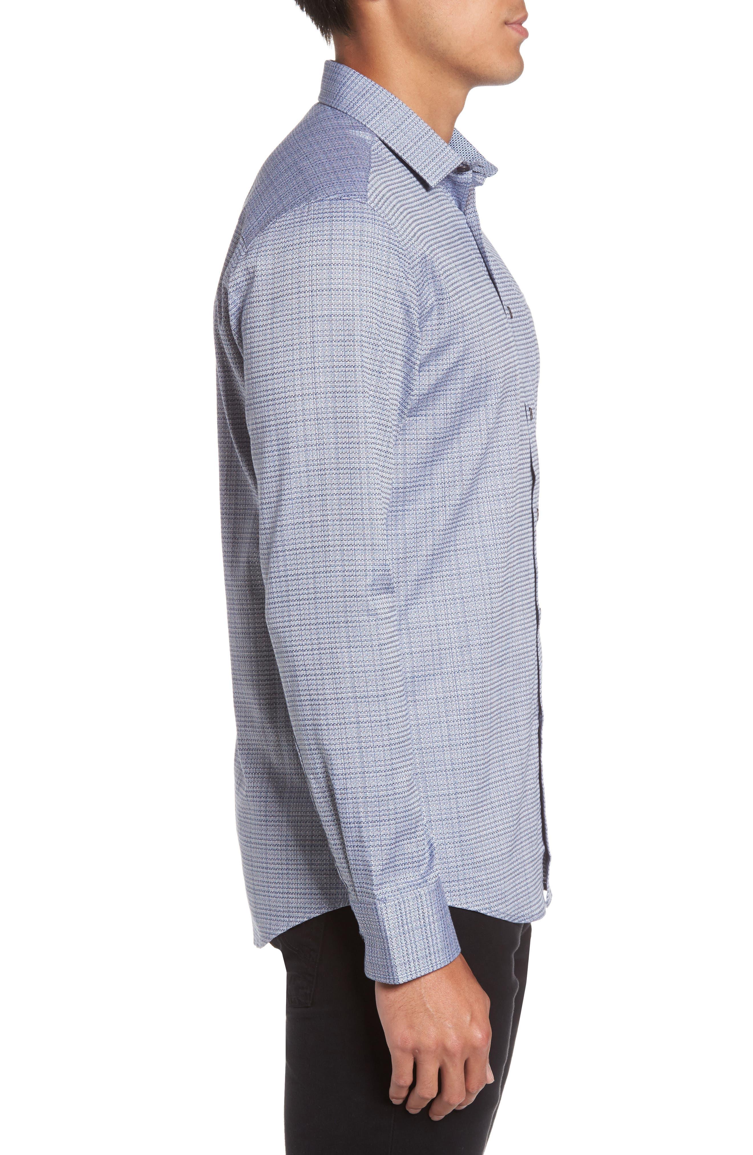 Trim Fit Print Hacking Pocket Sport Shirt,                             Alternate thumbnail 3, color,                             Navy/ White Dobby