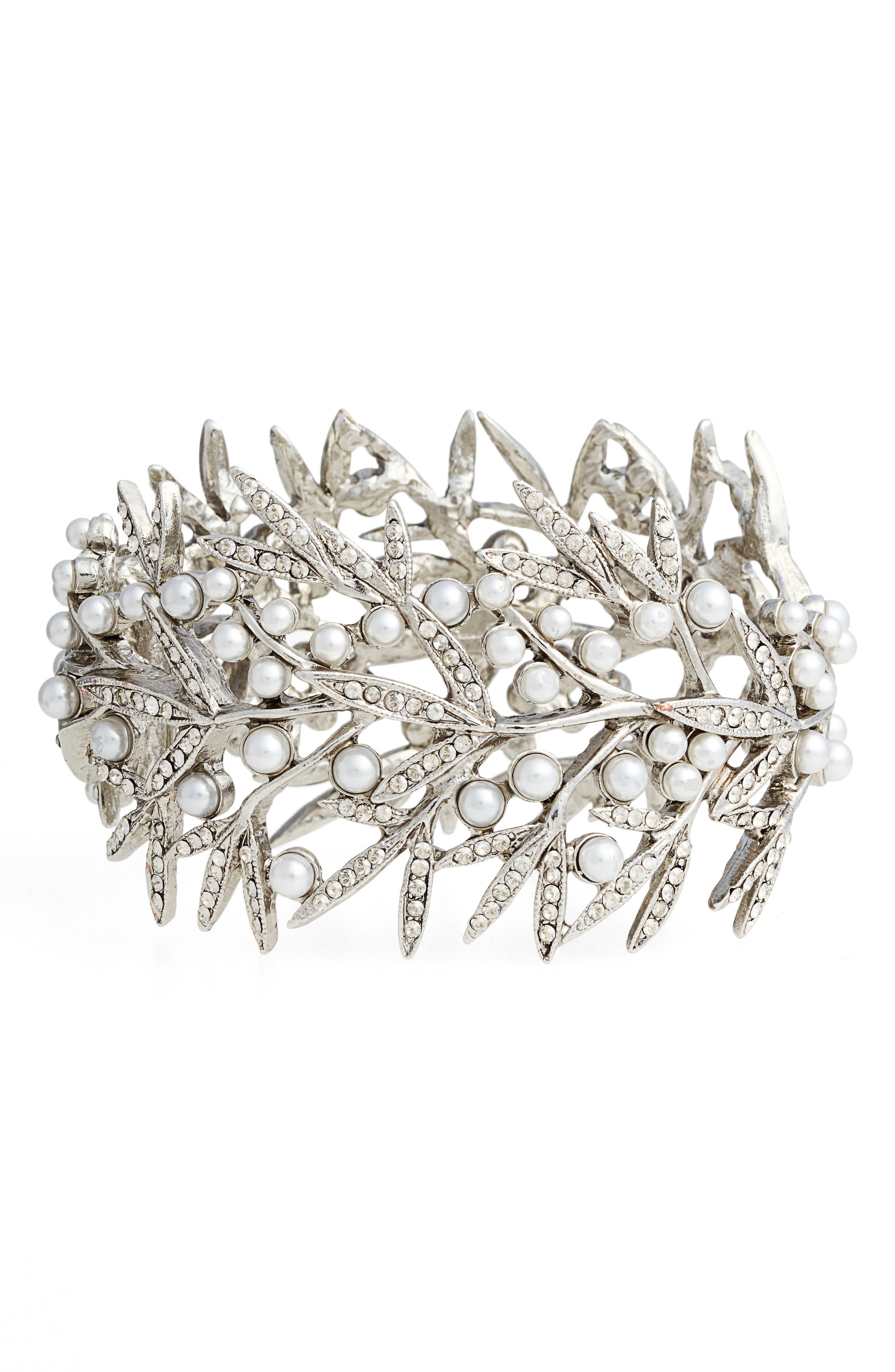 Wide Bracelet,                         Main,                         color, Crystal Shade Silver
