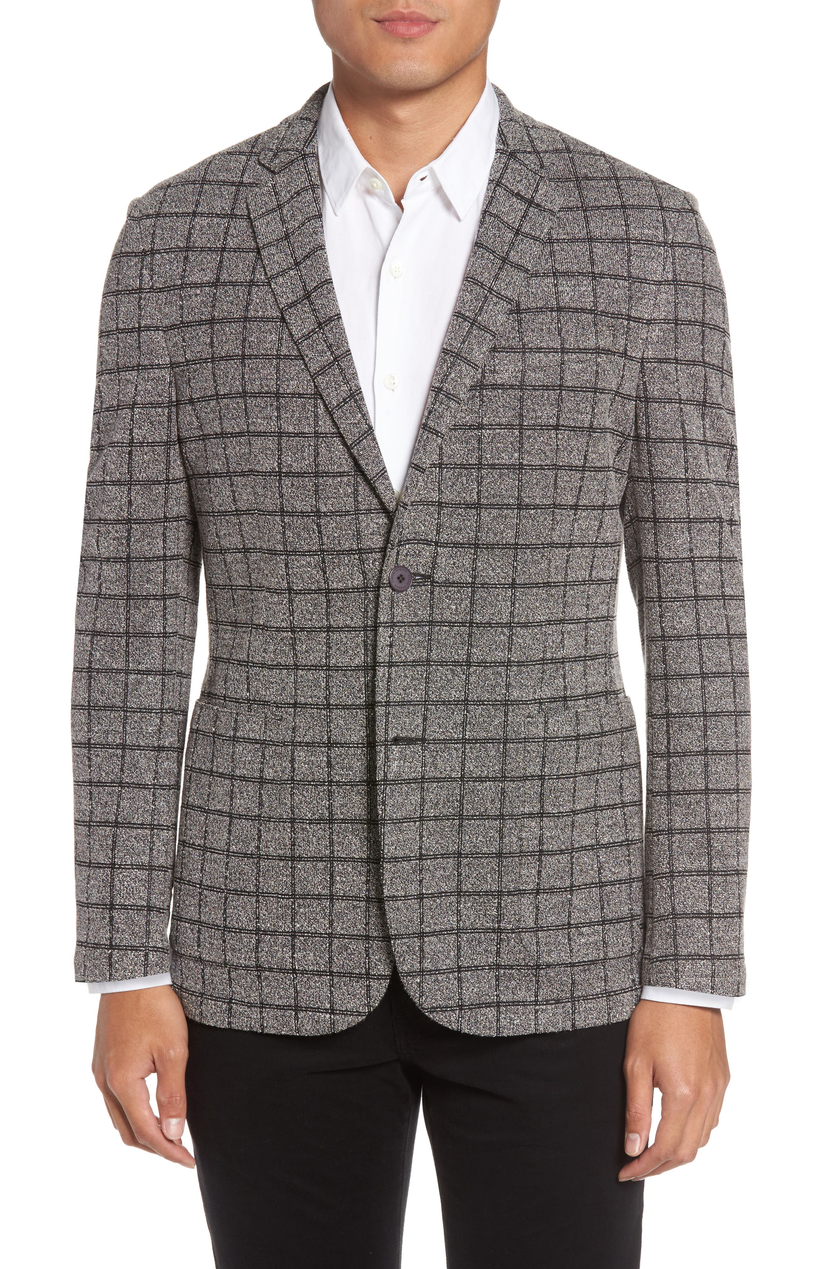 Del Aria Slim Fit Check Knit Jacket,                             Main thumbnail 1, color,                             Charcoal Windowpane Boucle