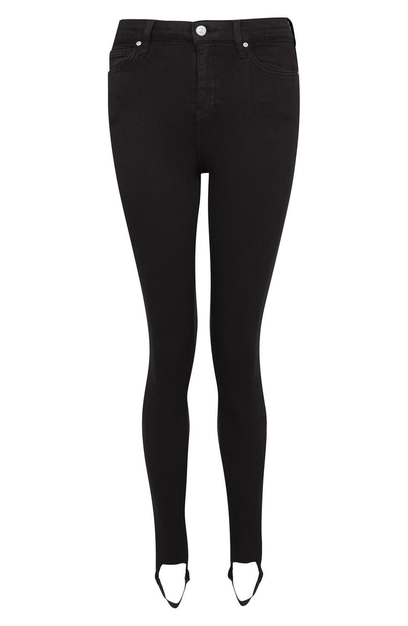 Jamie Stirrup Skinny Jeans,                             Alternate thumbnail 3, color,                             Black