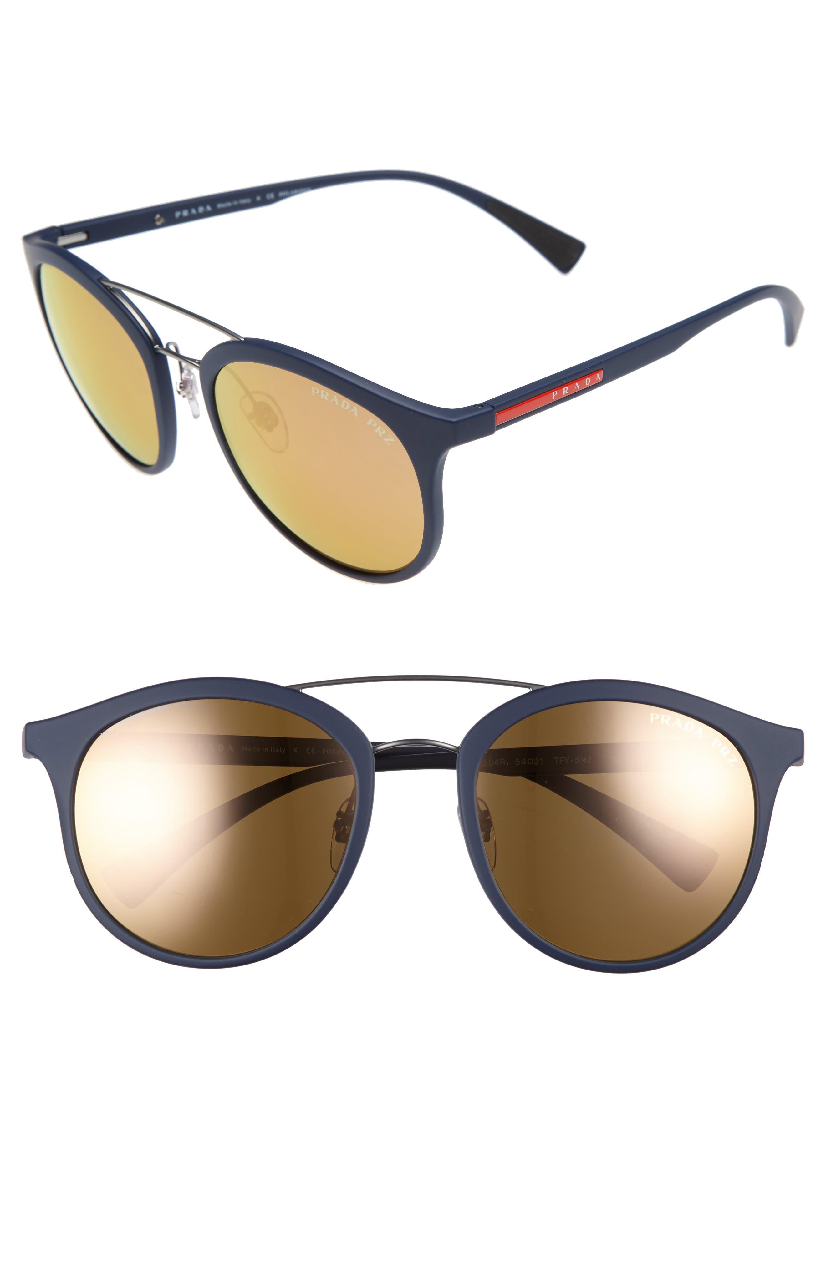 Alternate Image 1 Selected - Prada 54mm Polarized Round Sunglasses