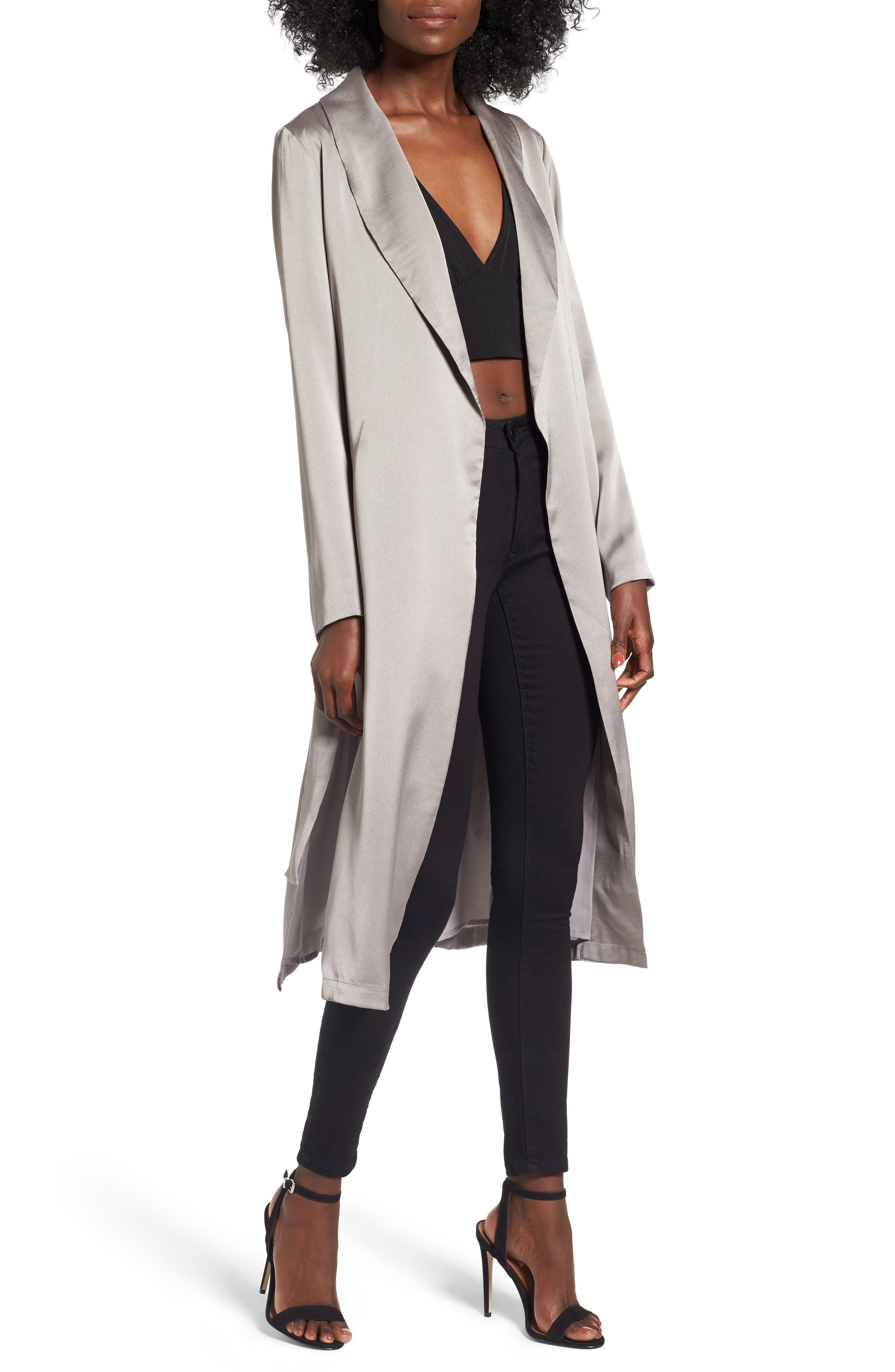 Satin Duster Jacket,                         Main,                         color, Grey