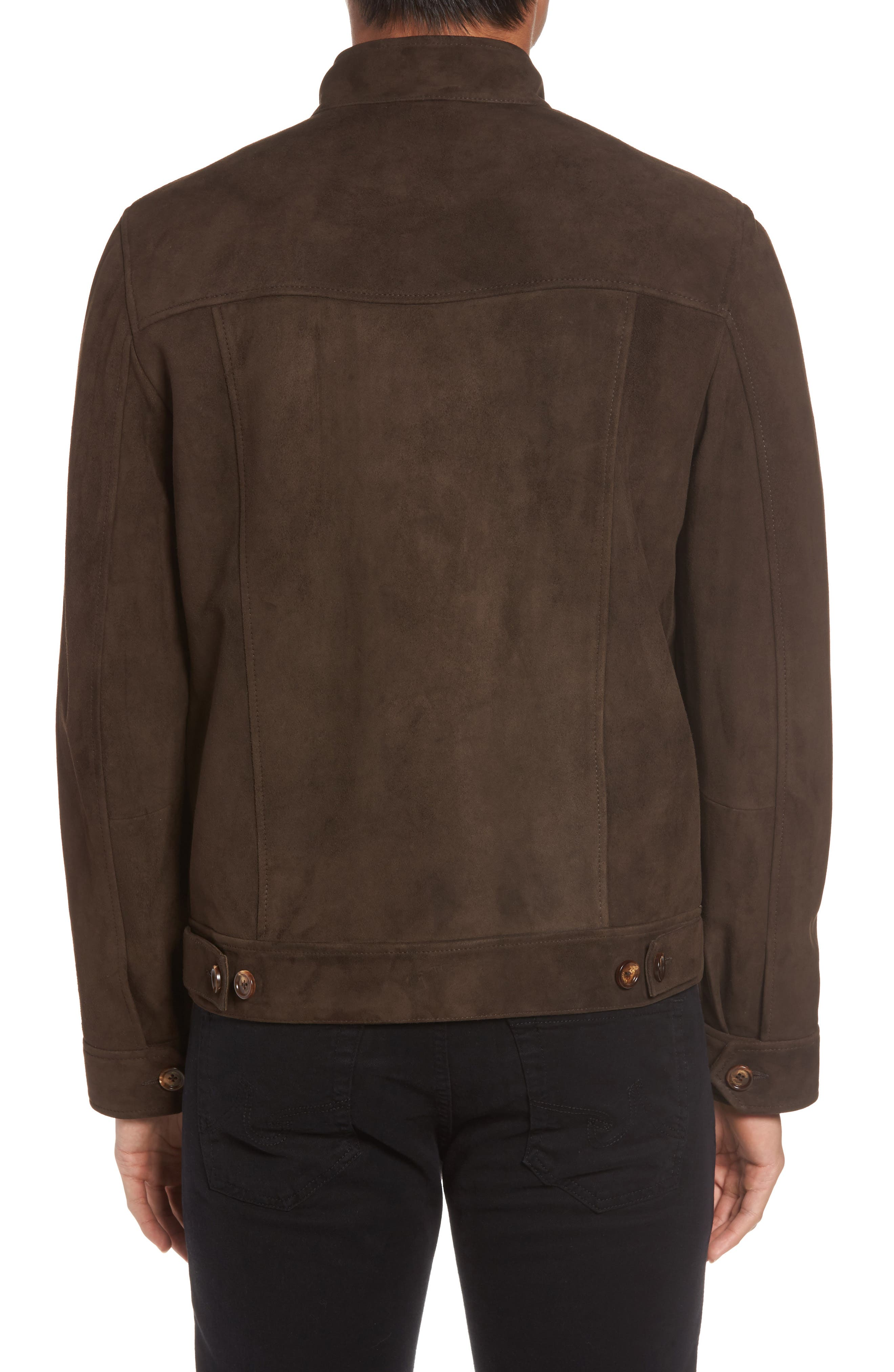 Suede Jacket,                             Alternate thumbnail 3, color,                             Chocolate Brown