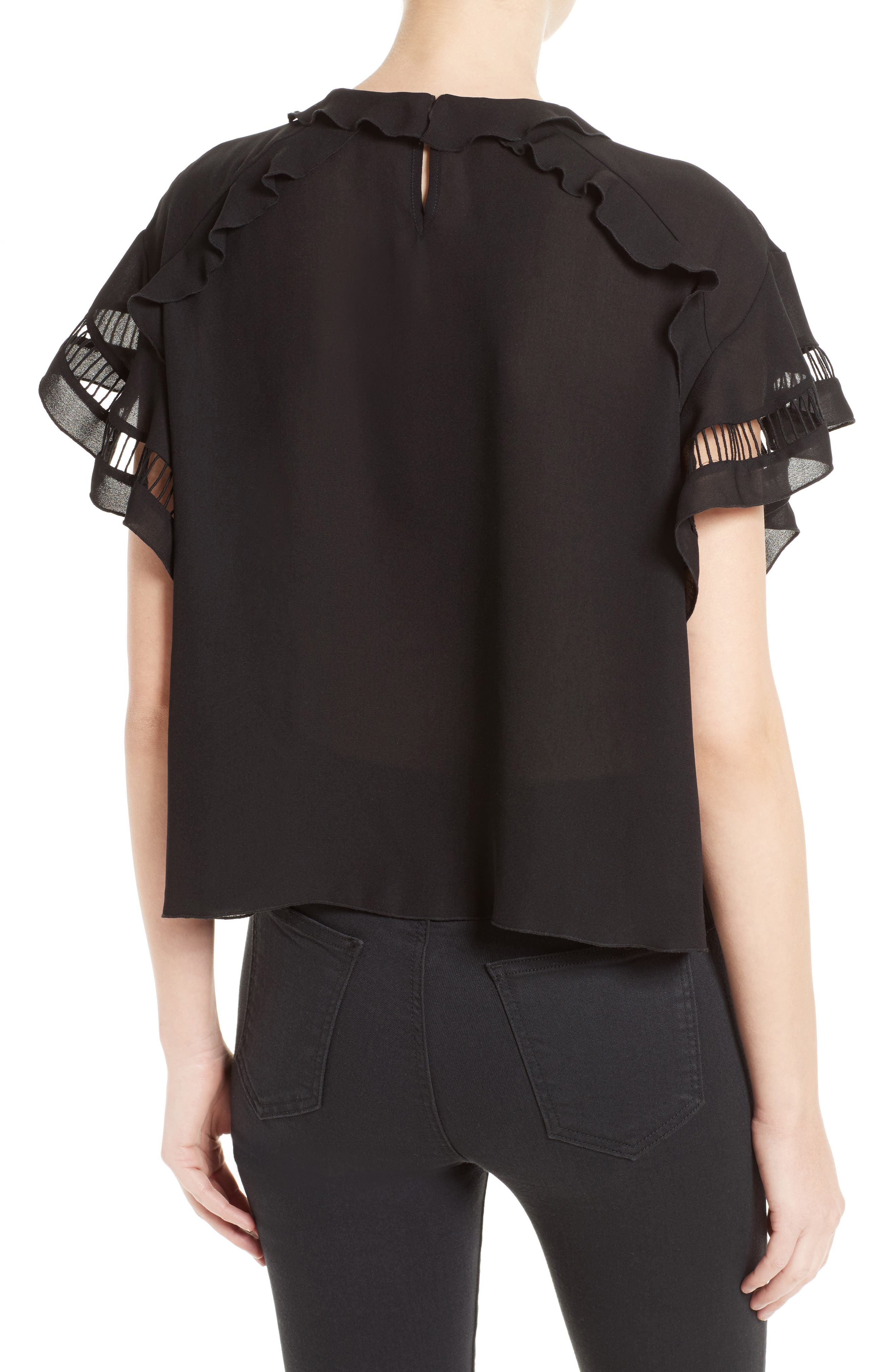 Lauder Ruffle Top,                             Alternate thumbnail 2, color,                             Black