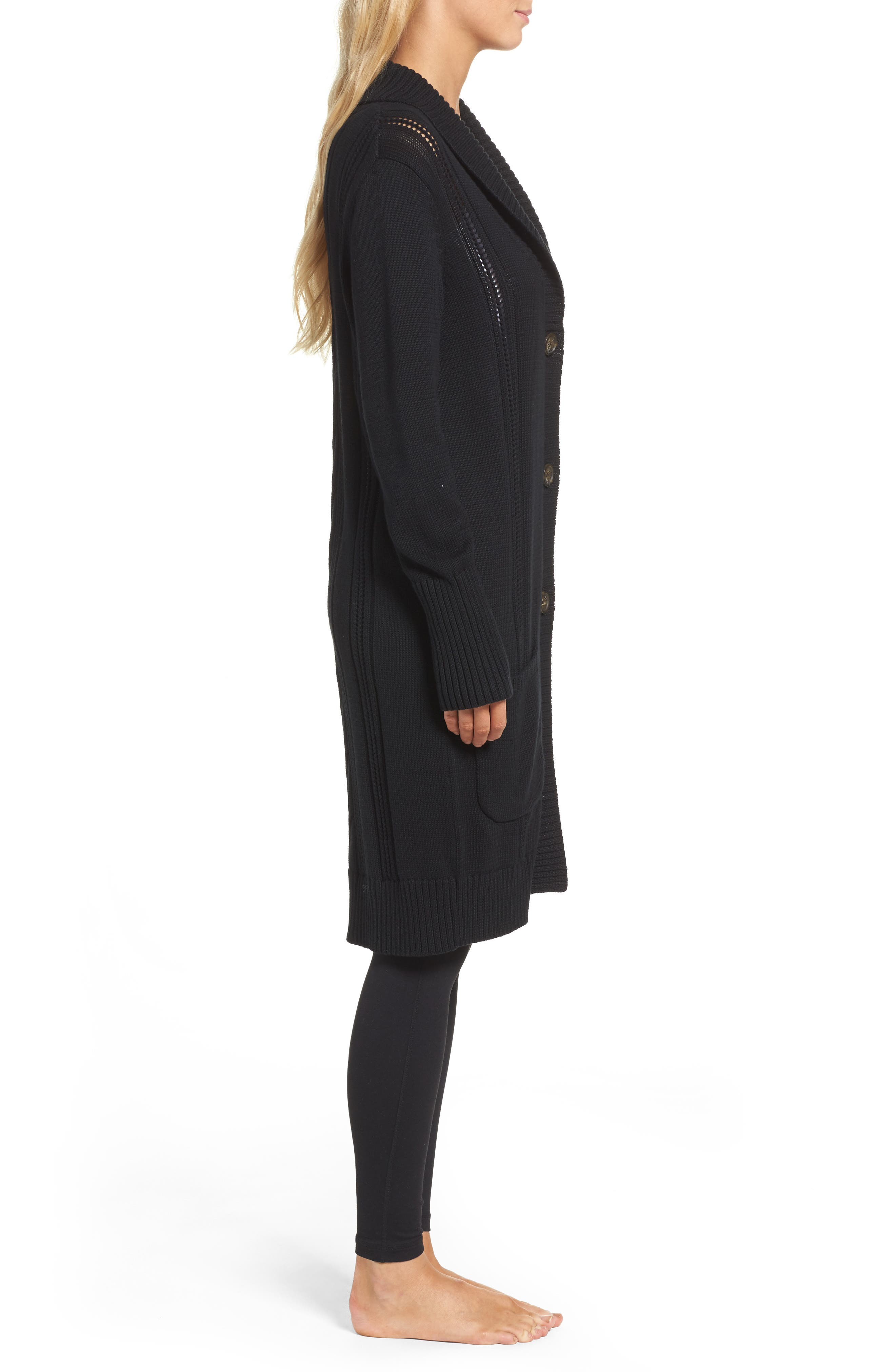 Hayley Long Cardigan,                             Alternate thumbnail 3, color,                             Black