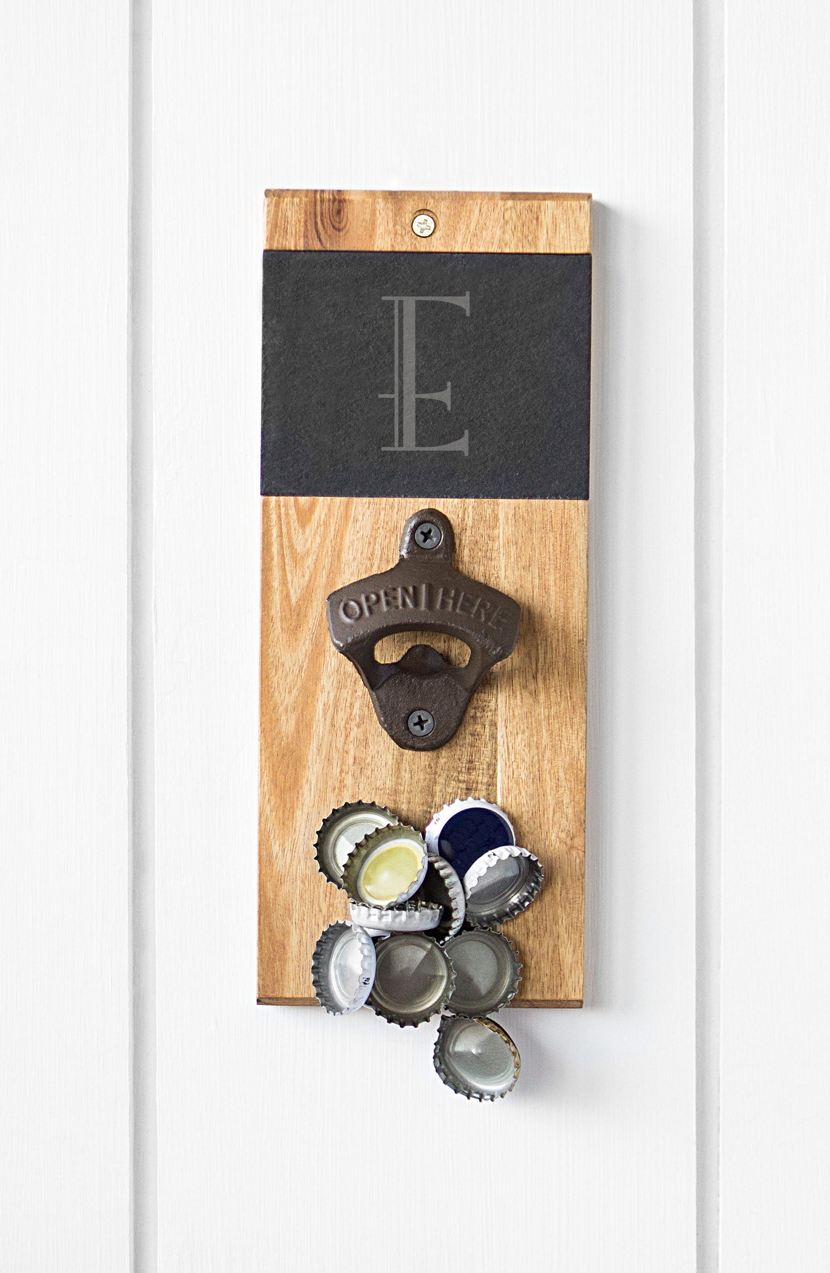 Alternate Image 4  - Cathy's Concepts Monogram Acacia & Slate Wall Bottle Opener