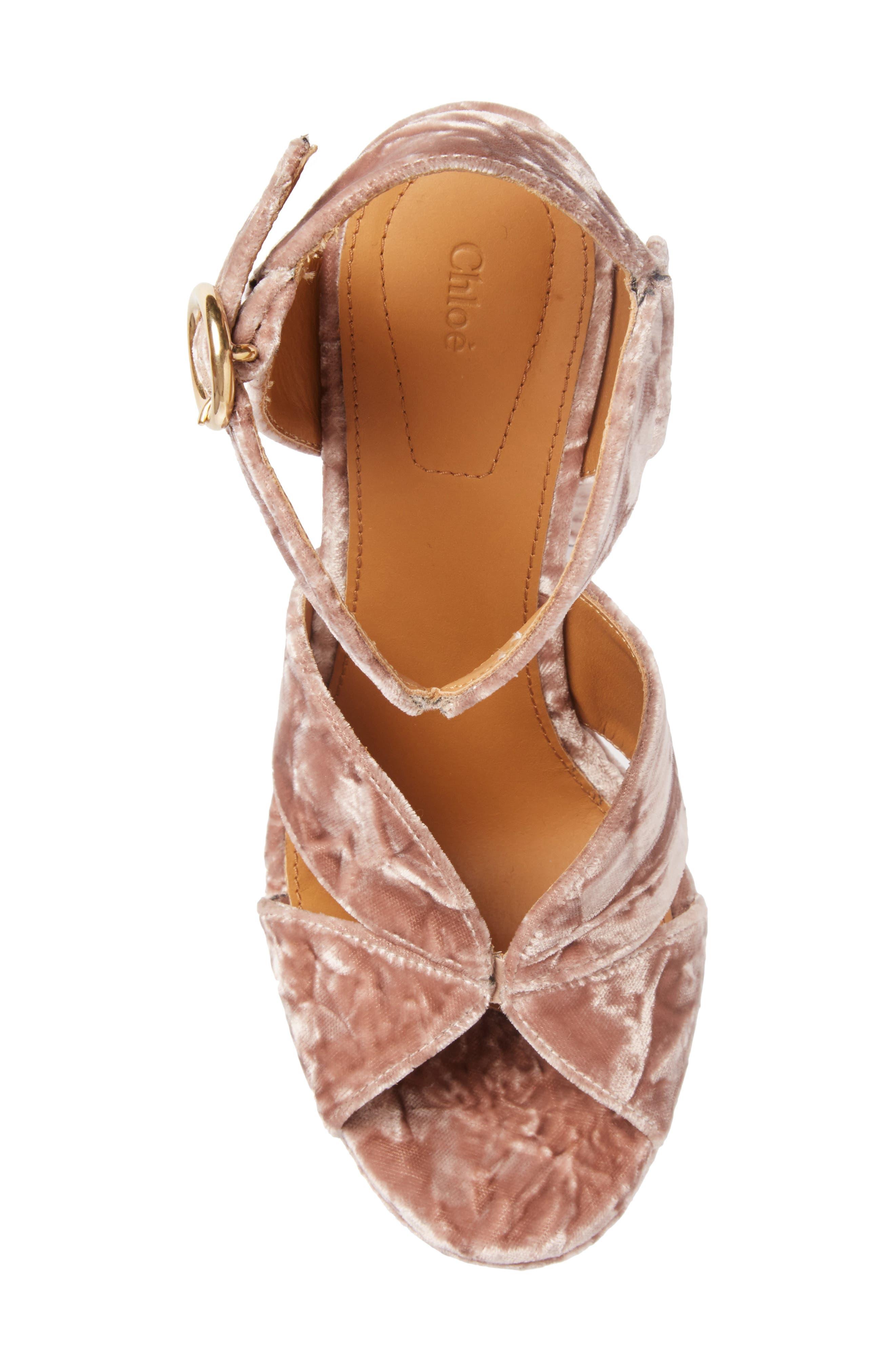 Graphic Leaves Platform Sandal,                             Alternate thumbnail 3, color,                             Tan Rose Velvet