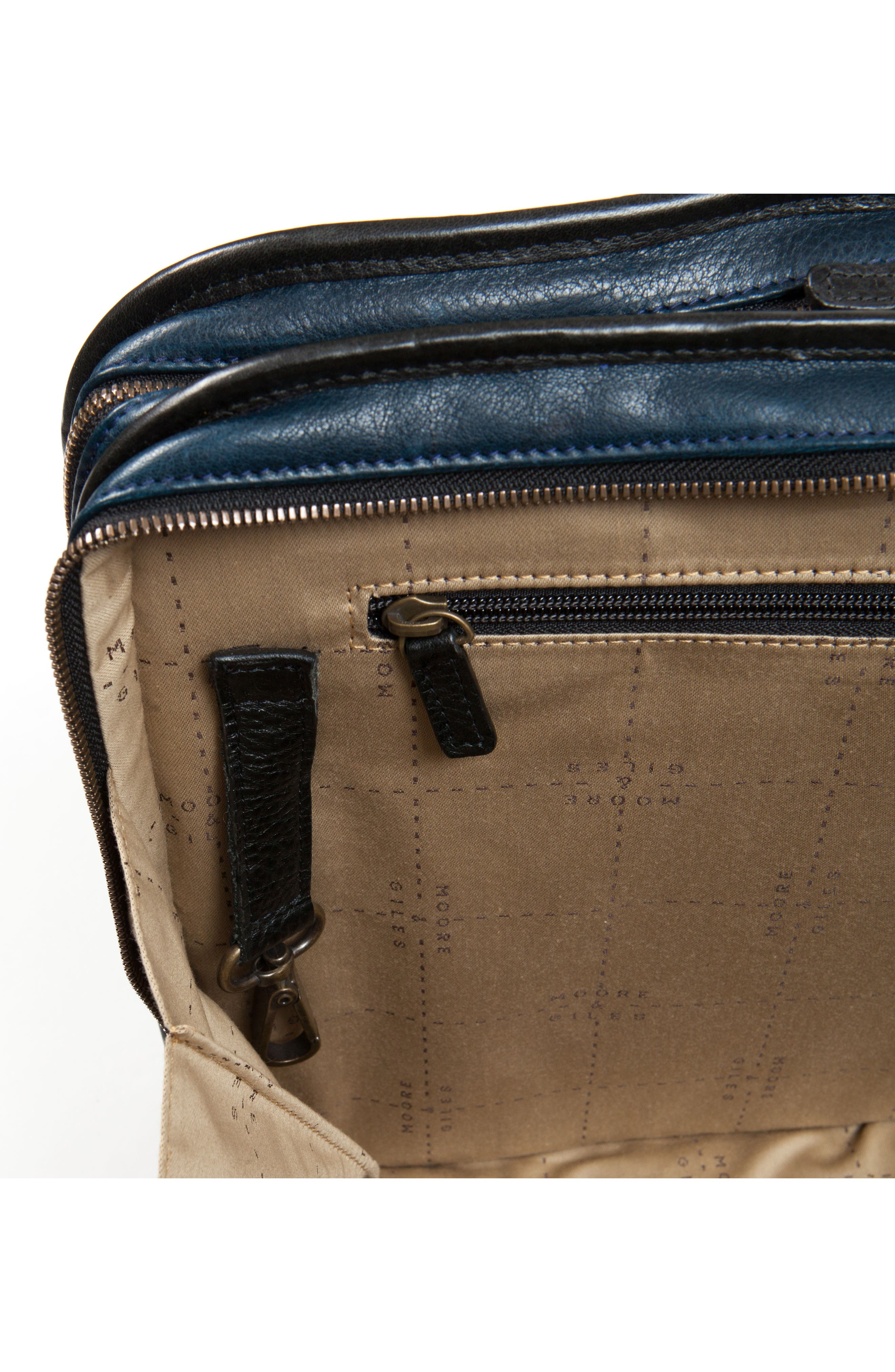 Miller Leather Briefcase,                             Alternate thumbnail 6, color,                             Titan Milled Navy And Gunmetal