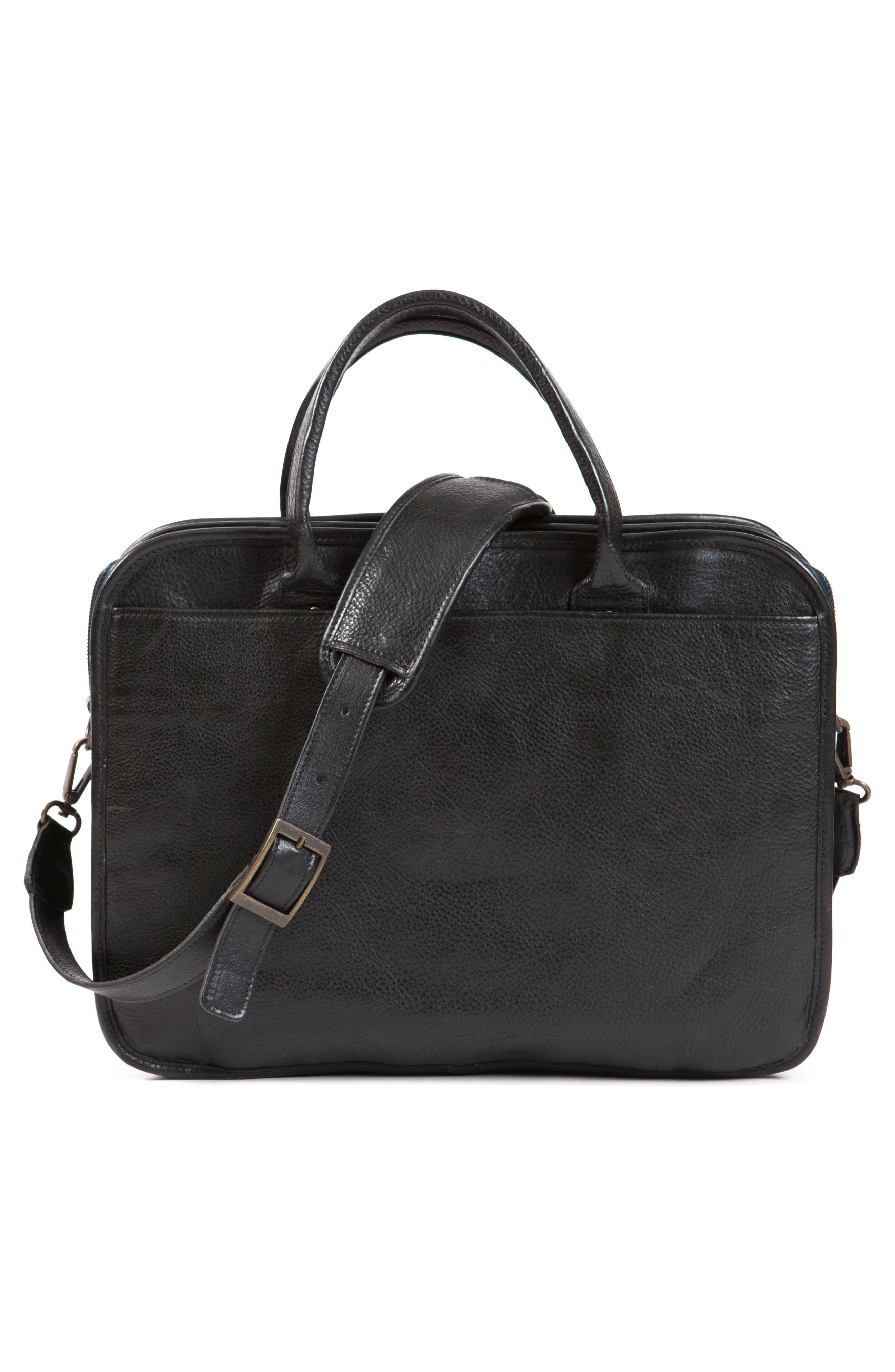 Miller Leather Briefcase,                             Alternate thumbnail 2, color,                             Titan Milled Navy And Gunmetal