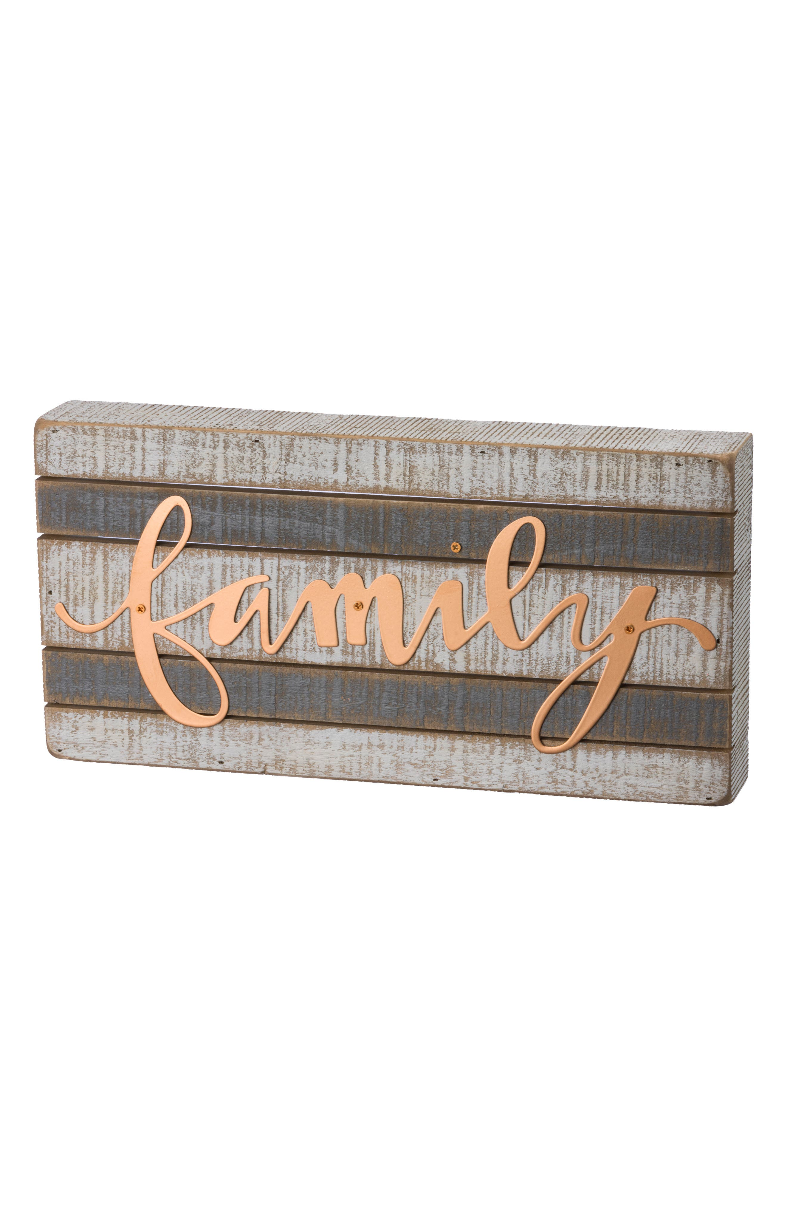 Family Wood Box Sign,                         Main,                         color, Ivory