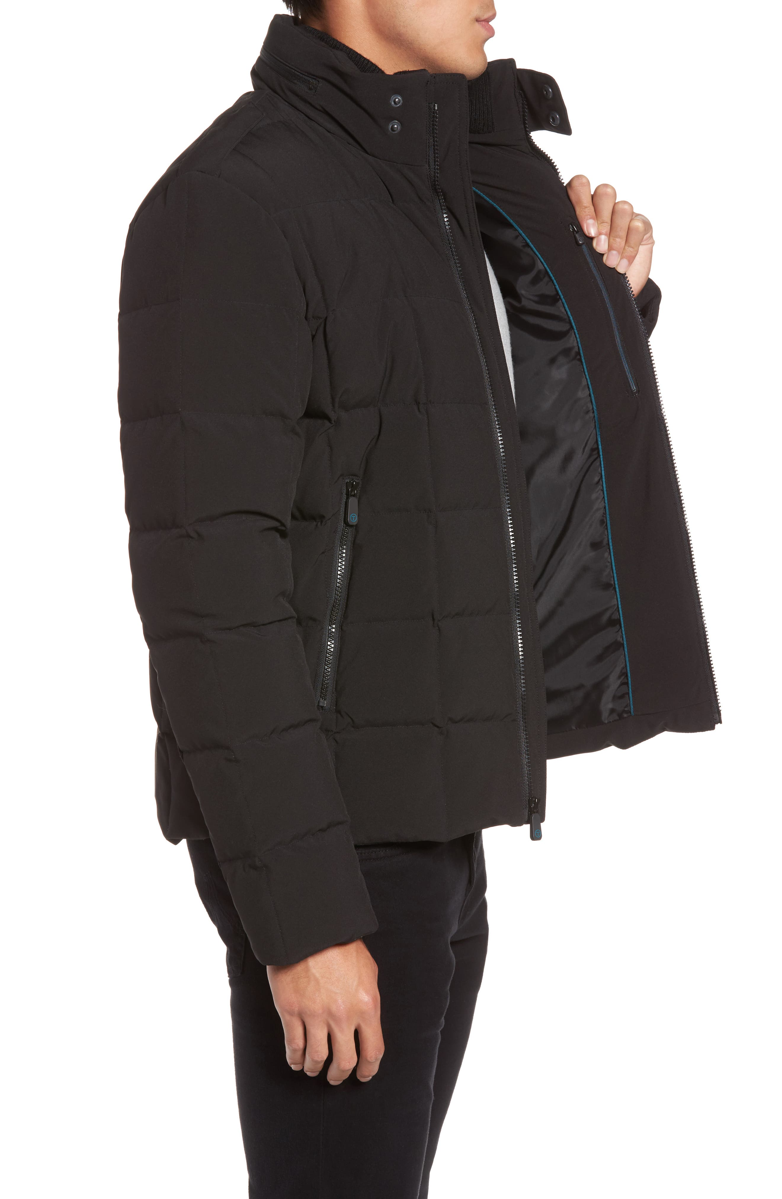 Box Quilted Jacket,                             Alternate thumbnail 3, color,                             Black
