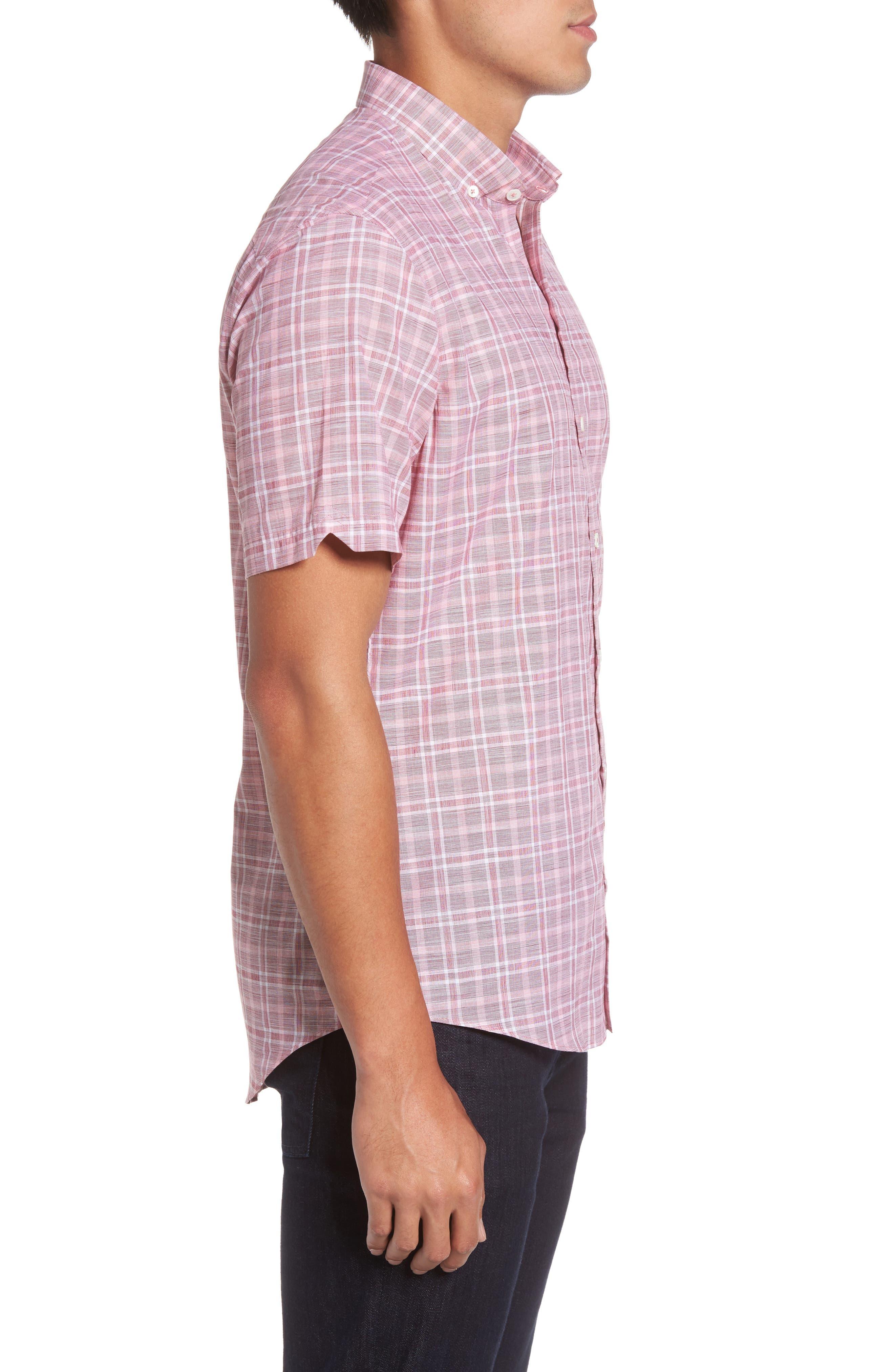 Holland Plaid Short Sleeve Sport Shirt,                             Alternate thumbnail 3, color,                             Red