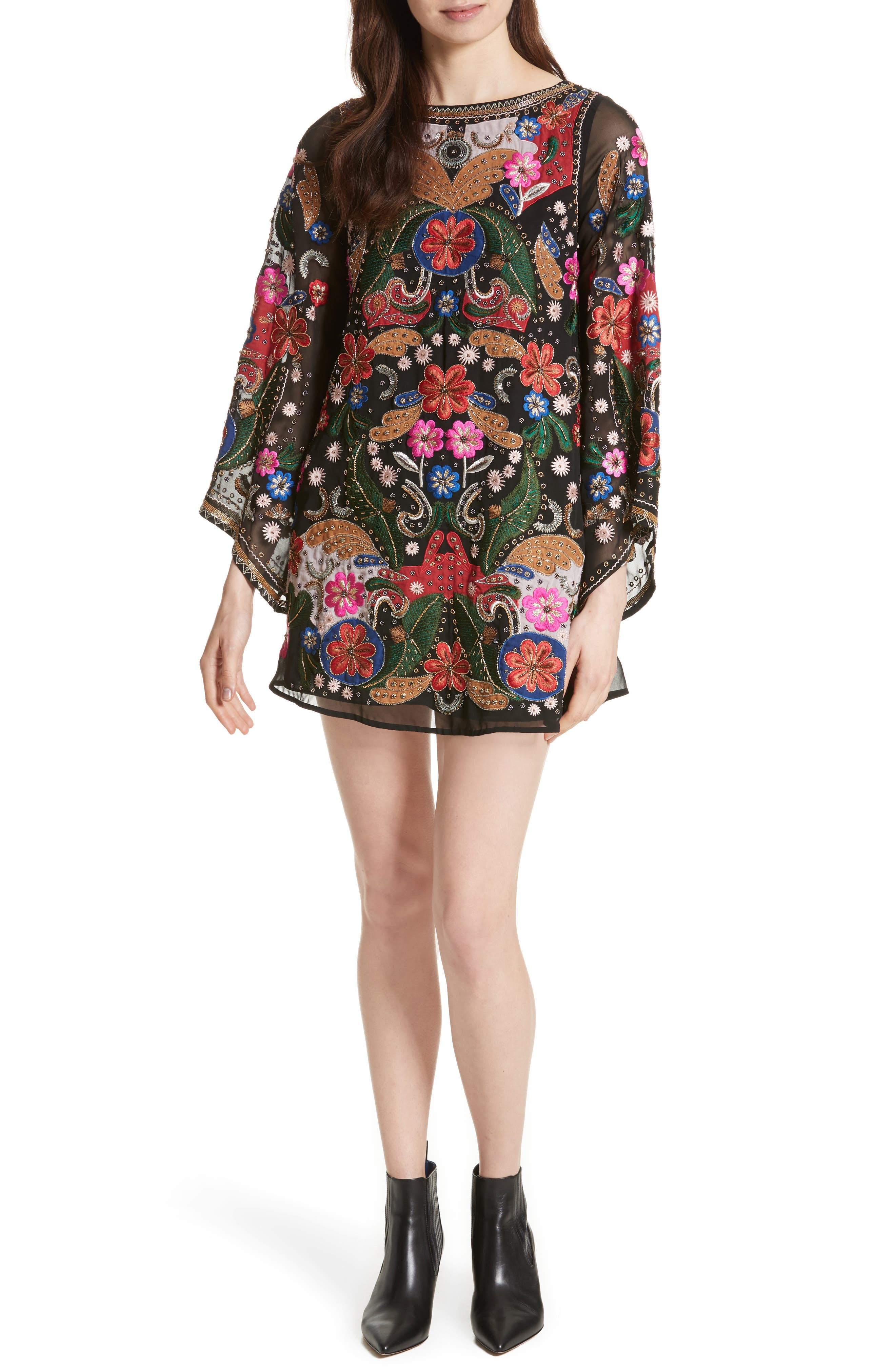 Eleonora Bell Sleeve Floral Embellished Dress,                         Main,                         color, Black/ Multi