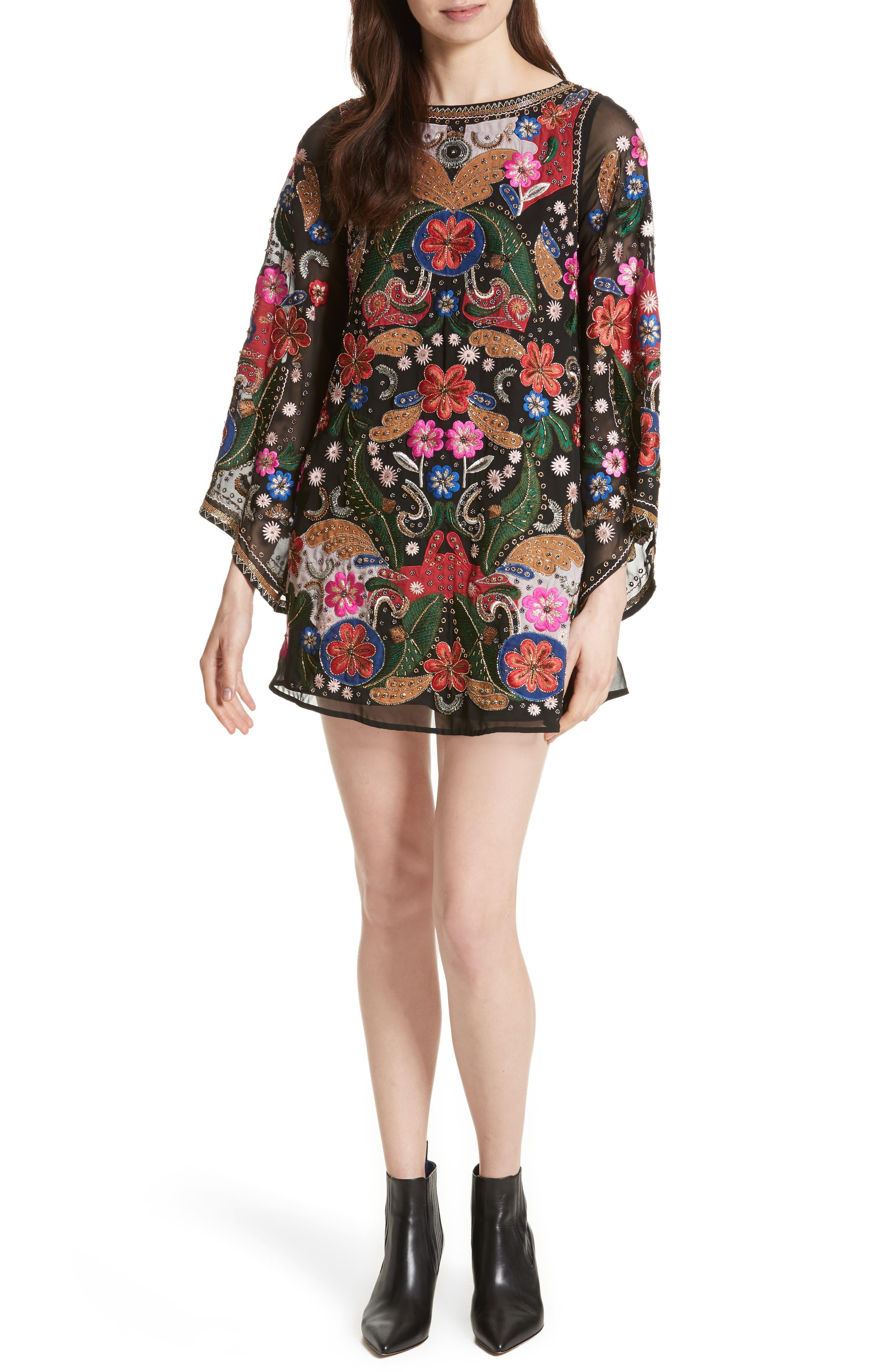 Alice + Olivia Eleonora Bell Sleeve Floral Embellished Dress