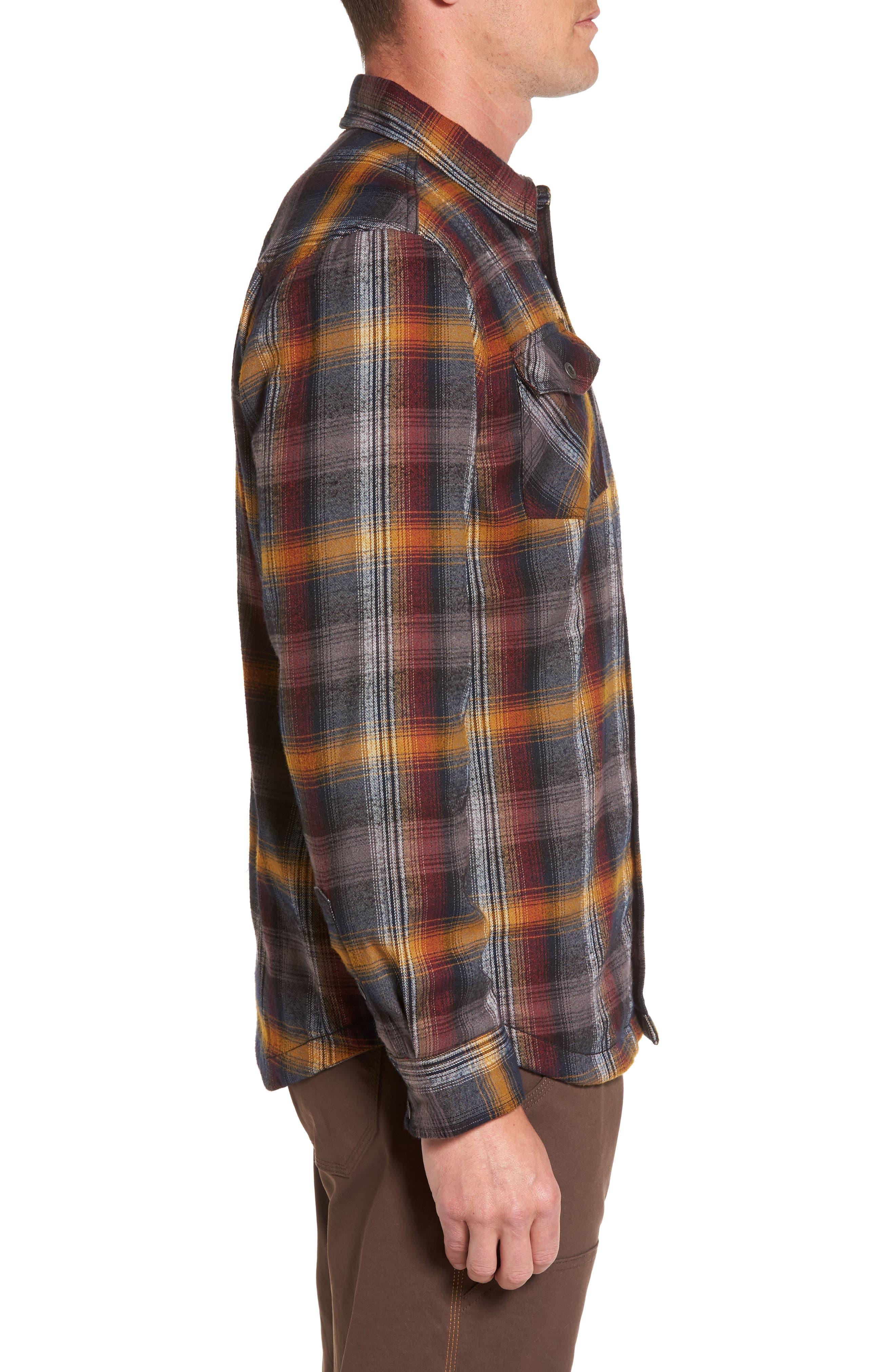 Asylum Regular Fit Plaid Shirt Jacket,                             Alternate thumbnail 3, color,                             Black