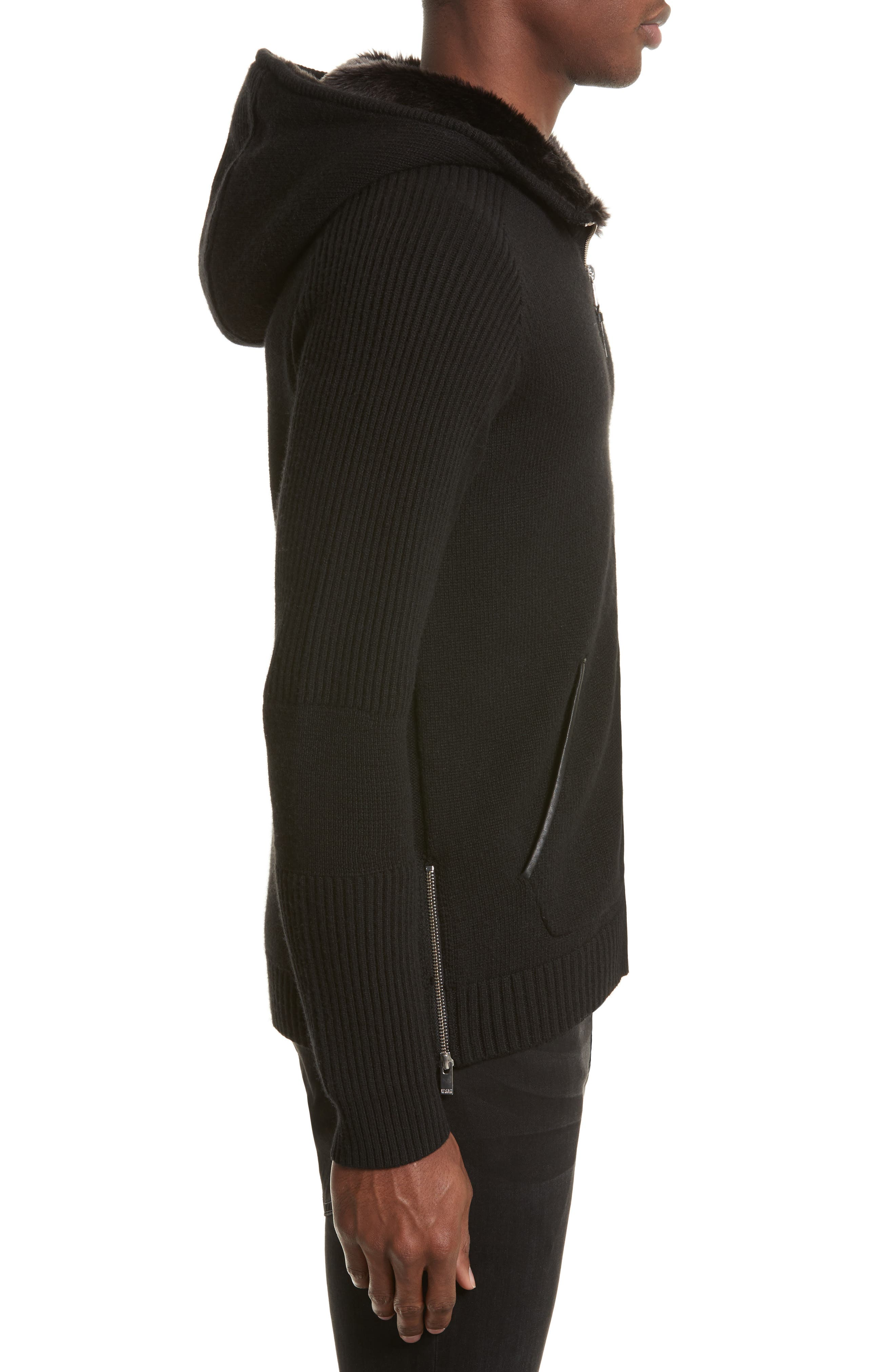 Knit Zip Hoodie with Faux Fur Trim,                             Alternate thumbnail 3, color,                             Bla01