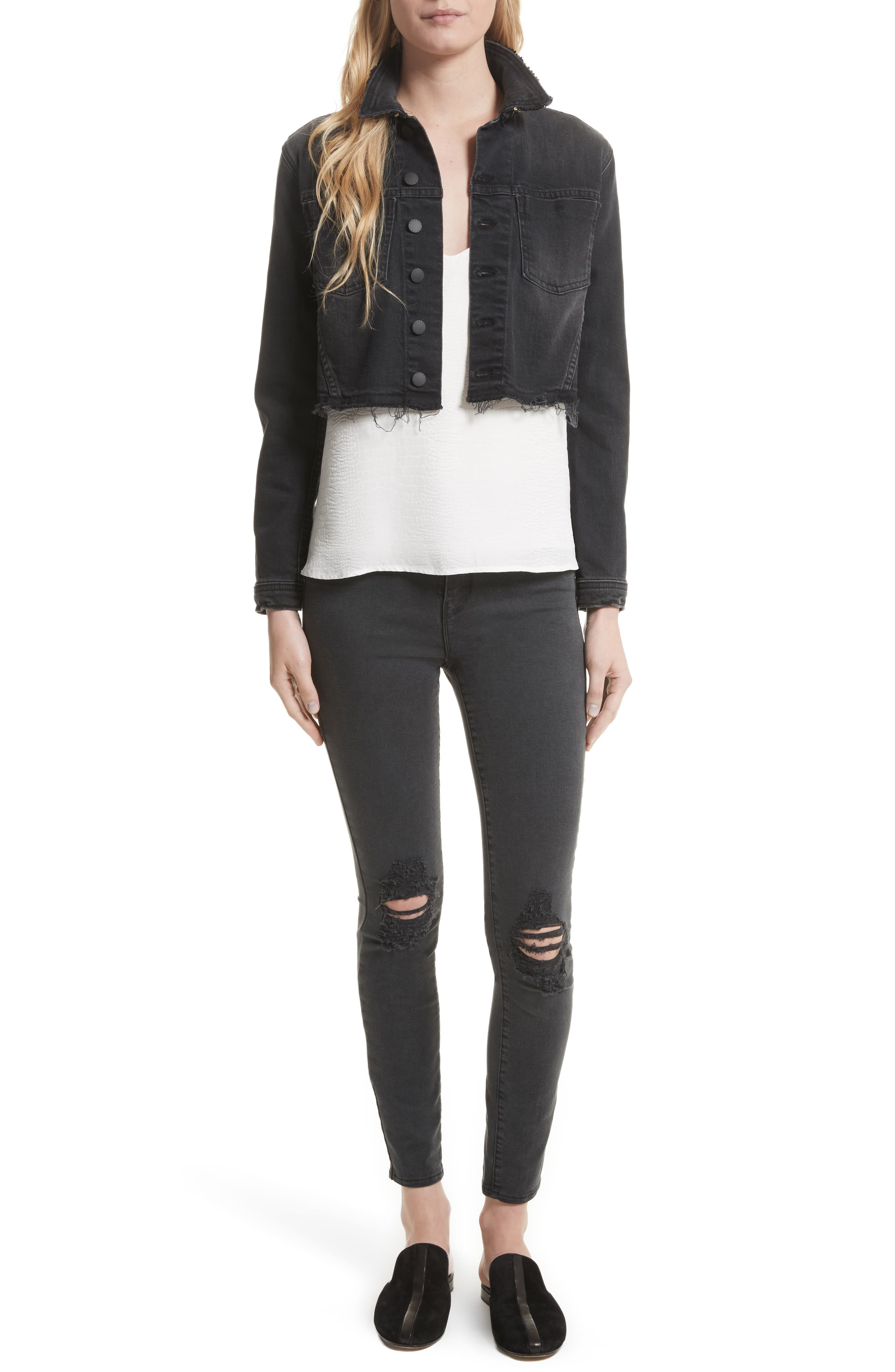Alternate Image 2  - L'AGENCE Margot Ripped High Waist Skinny Jeans (Coal Destruct)
