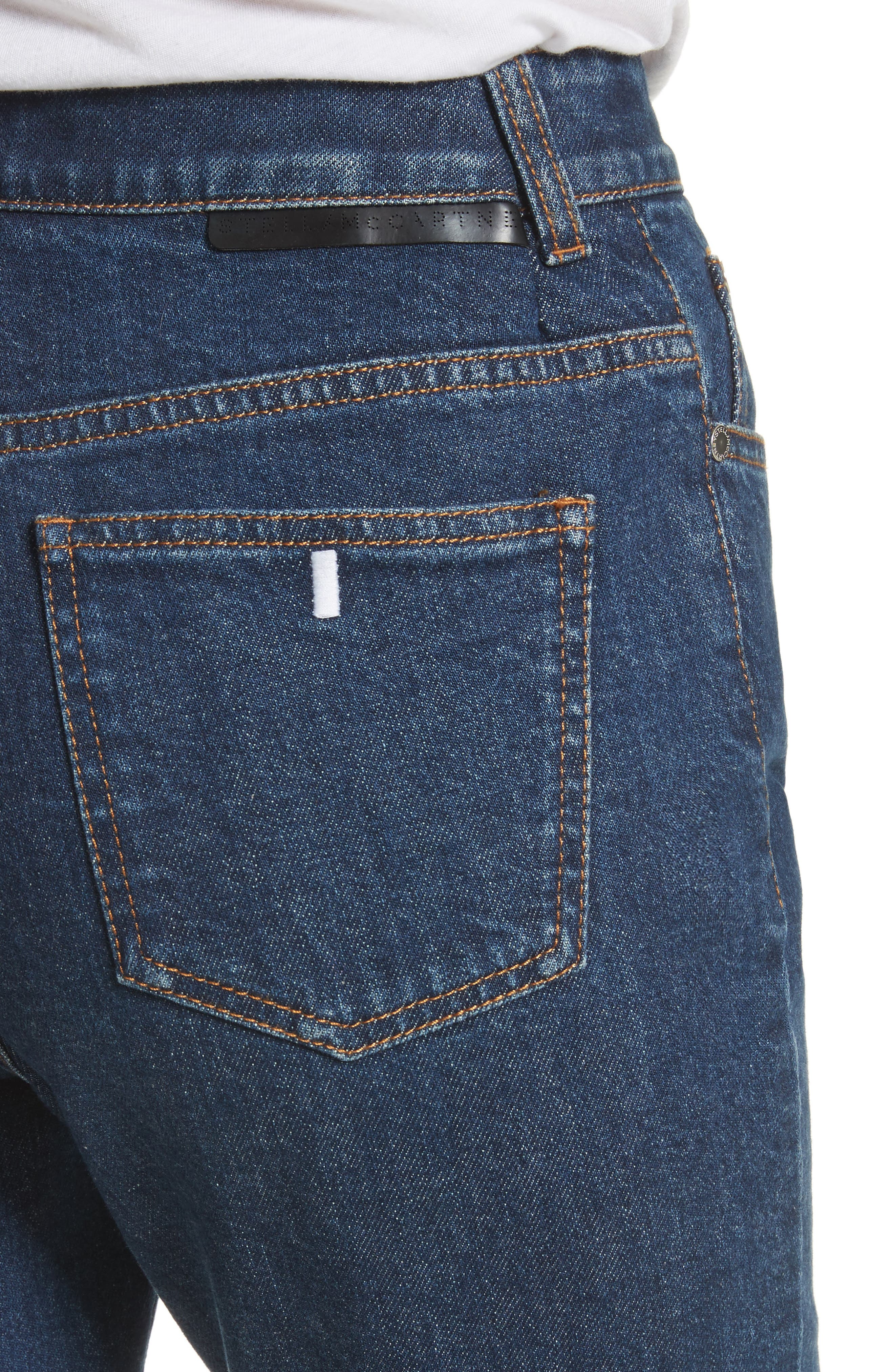 Alternate Image 4  - Stella McCartney Alter Leather Trim High Waist Straight Leg Jeans