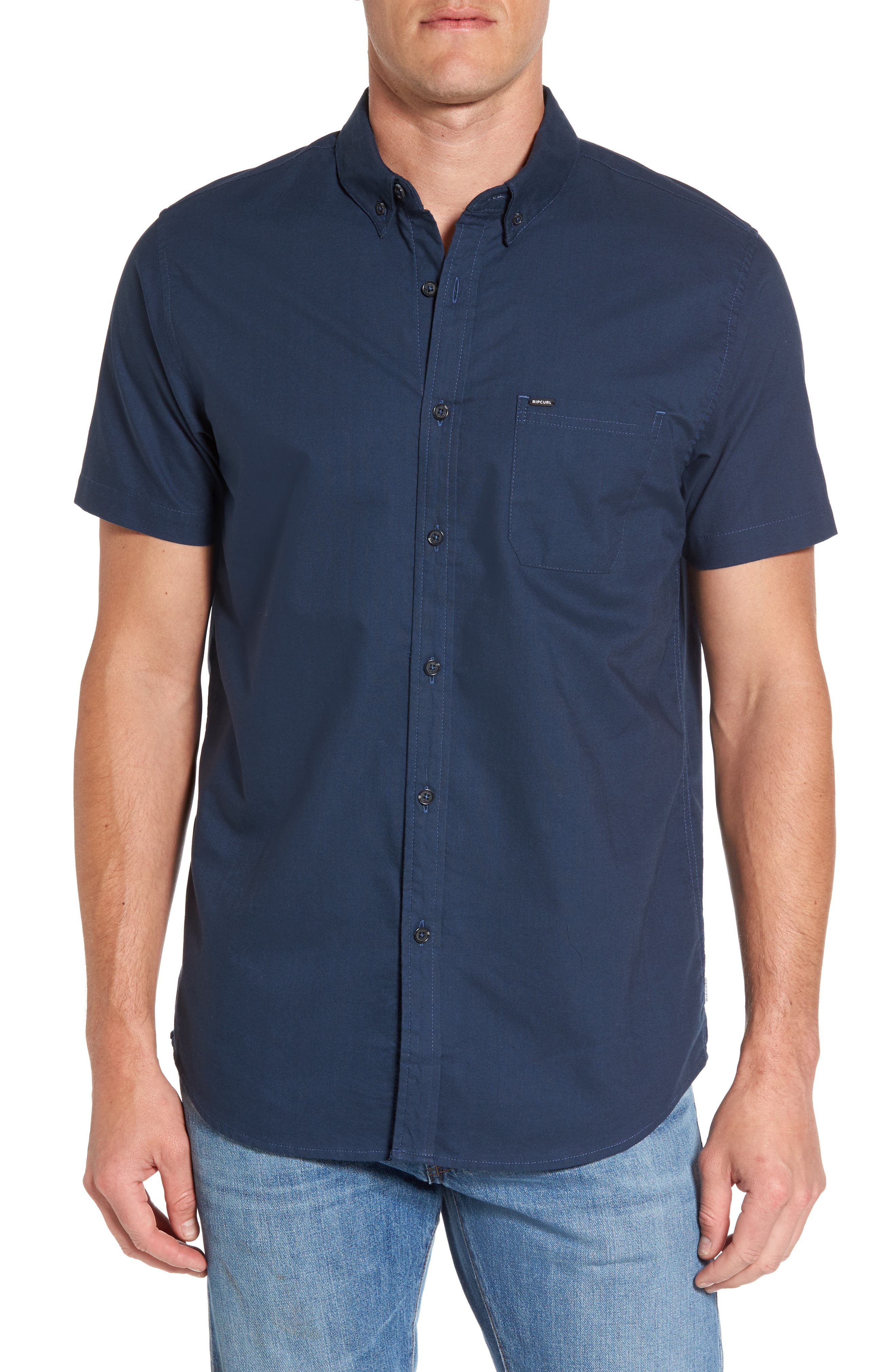 Ourtime Woven Shirt,                         Main,                         color, Navy