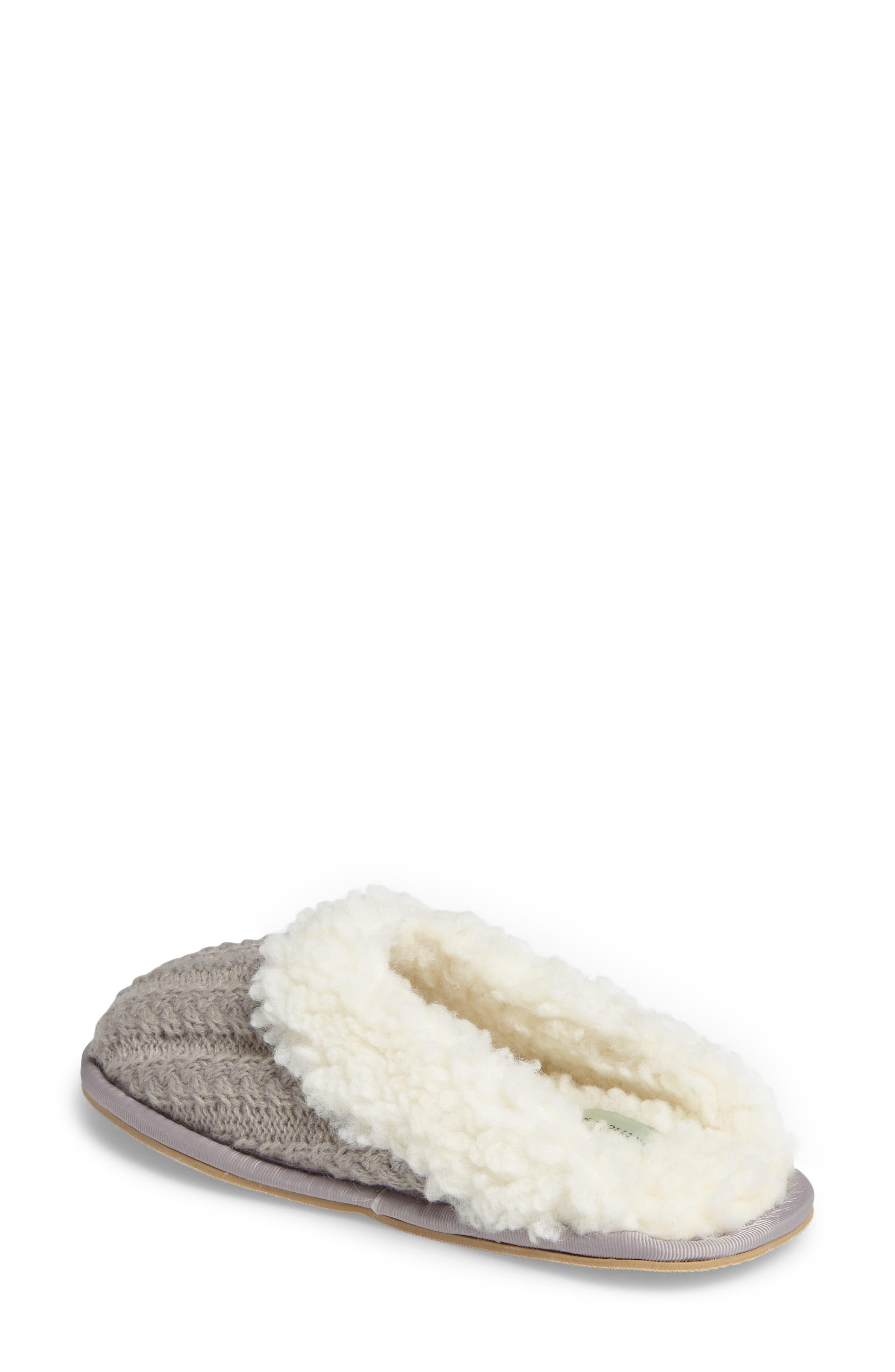 Celia Cable Knit Slipper,                             Alternate thumbnail 2, color,                             Grey Fabric