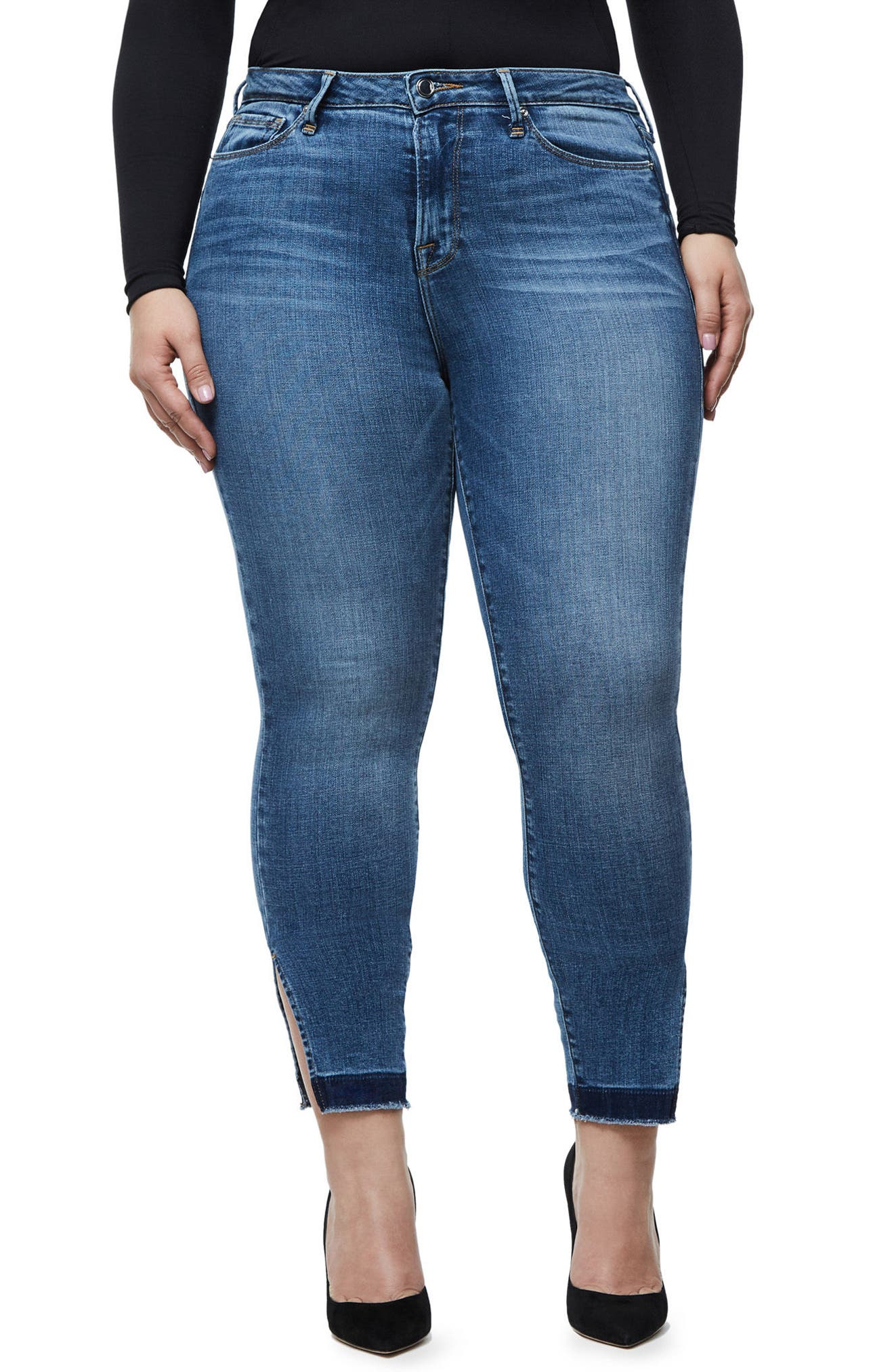 Alternate Image 4  - Good American Good Legs High Rise Split Hem Crop Skinny Jeans (Blue 061)