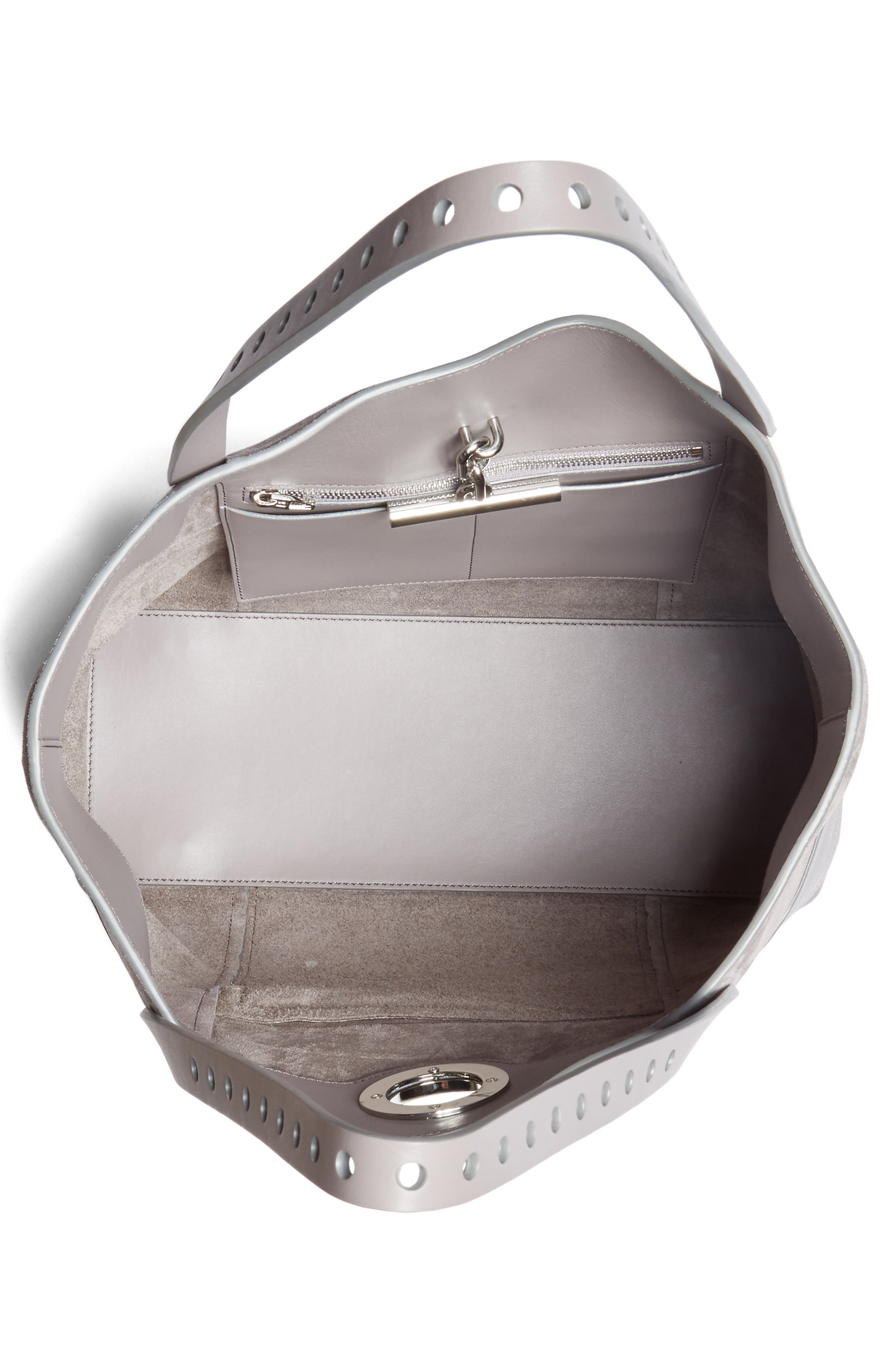 Riot Suede & Leather Tote,                             Alternate thumbnail 4, color,                             Grey