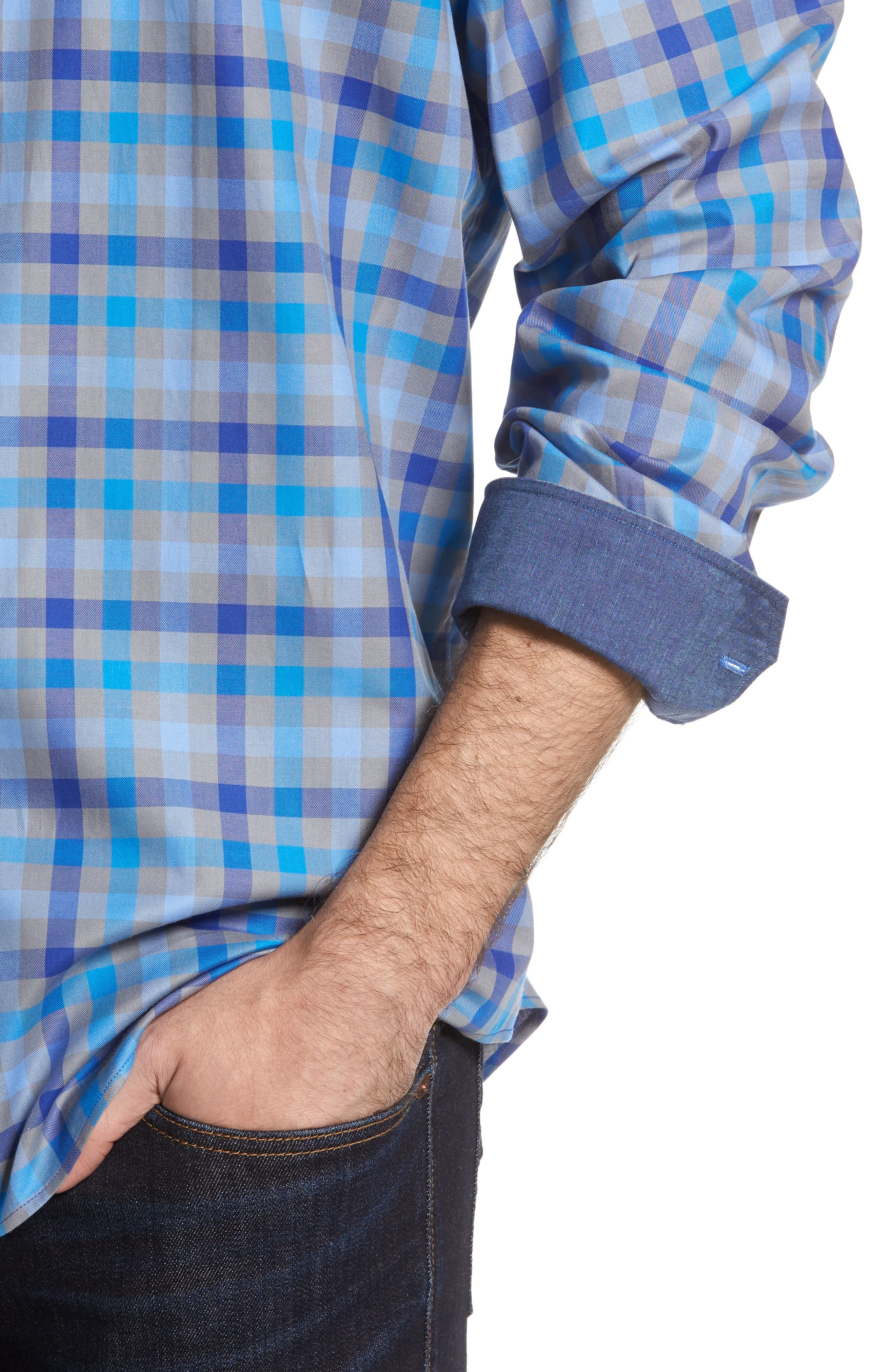 Classic Fit Check Sport Shirt,                             Alternate thumbnail 4, color,                             Platinum