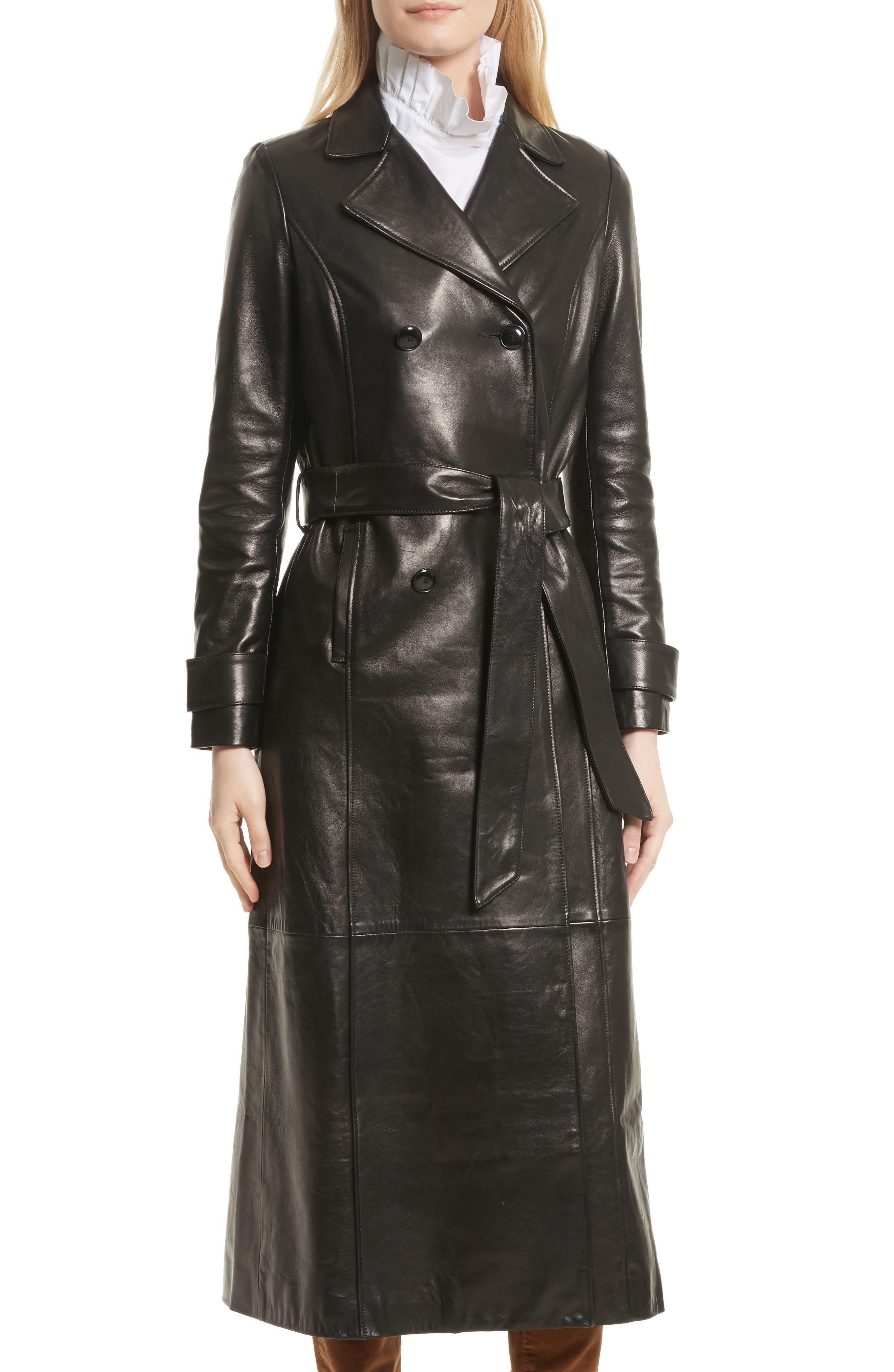 Leather Trench Coat,                             Alternate thumbnail 3, color,                             Noir