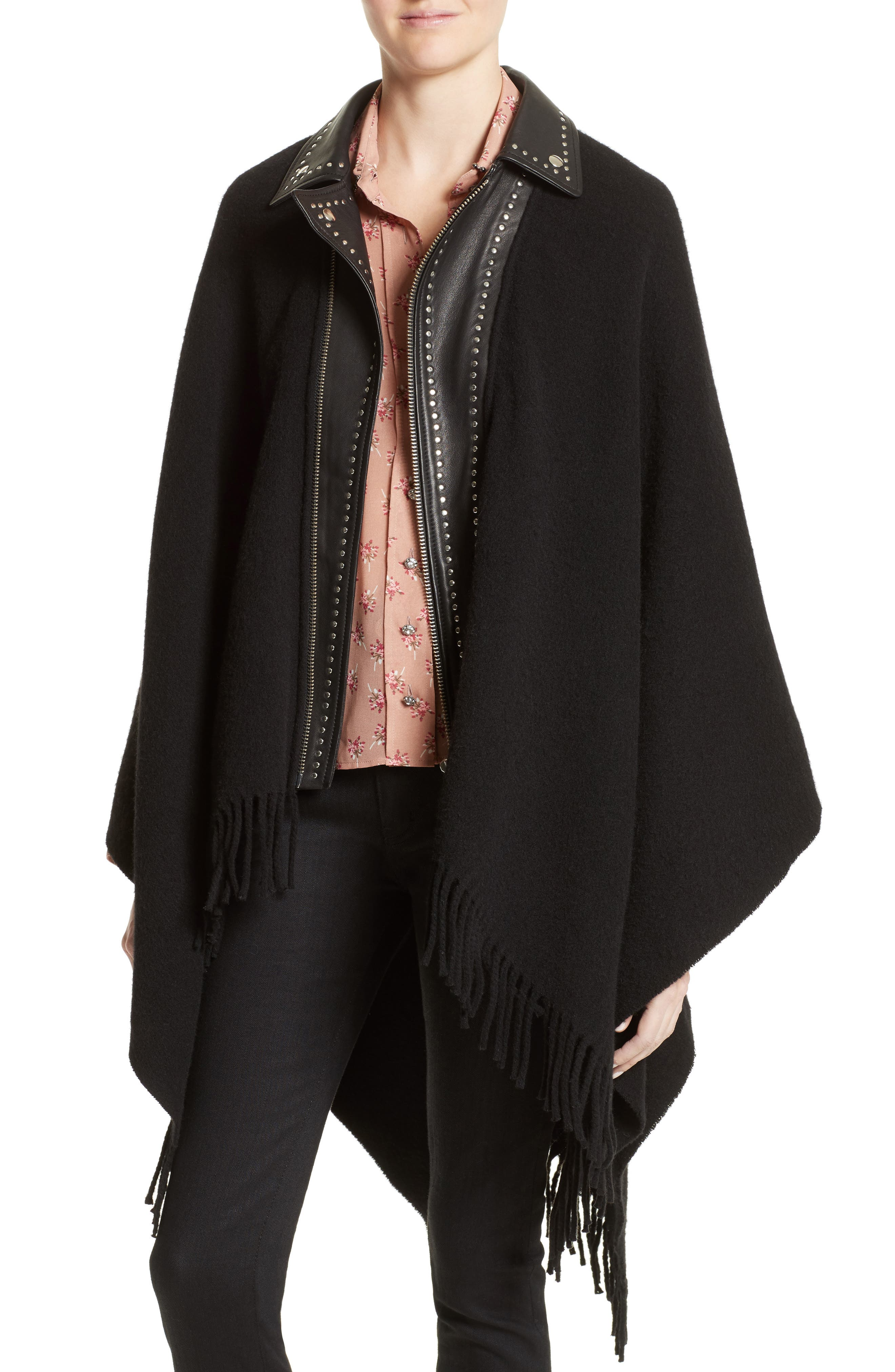 Leather Collar Wool Blend Poncho,                         Main,                         color, Black