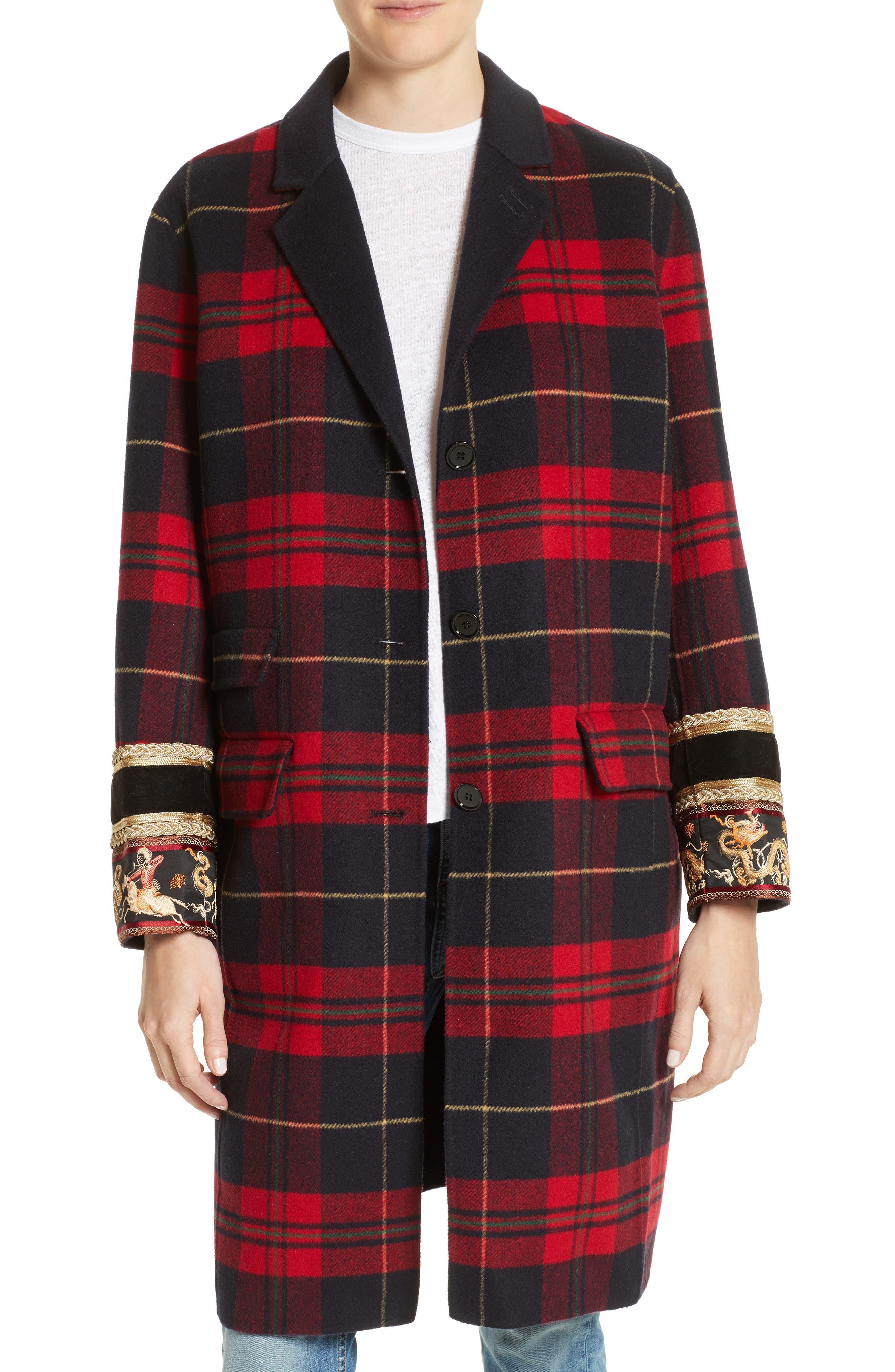Plaid Double Face Jacket,                         Main,                         color, Black