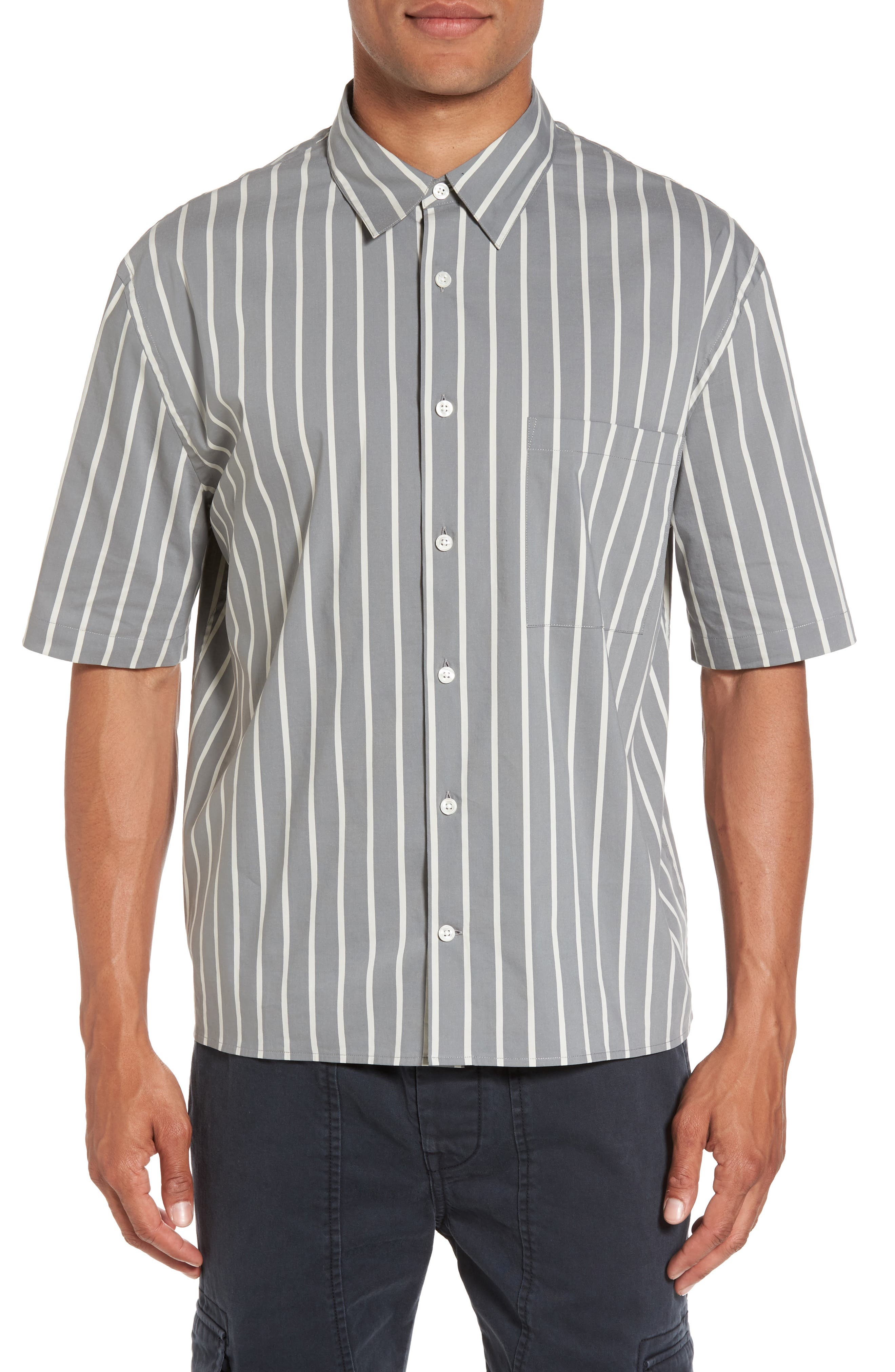Vince Regular Fit Stripe Short Sleeve Sport Shirt