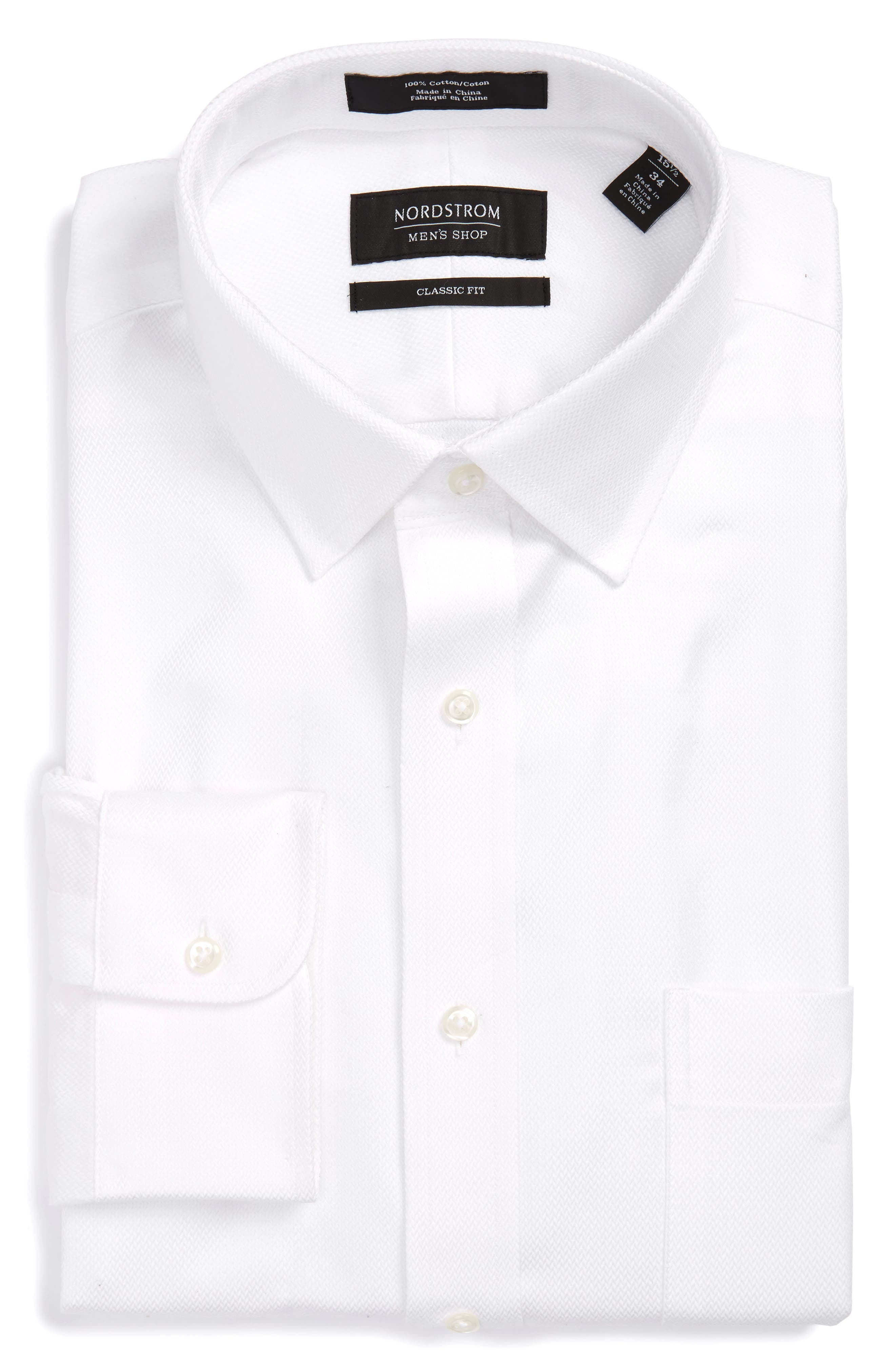 Classic Fit Textured Dress Shirt,                             Alternate thumbnail 4, color,                             White