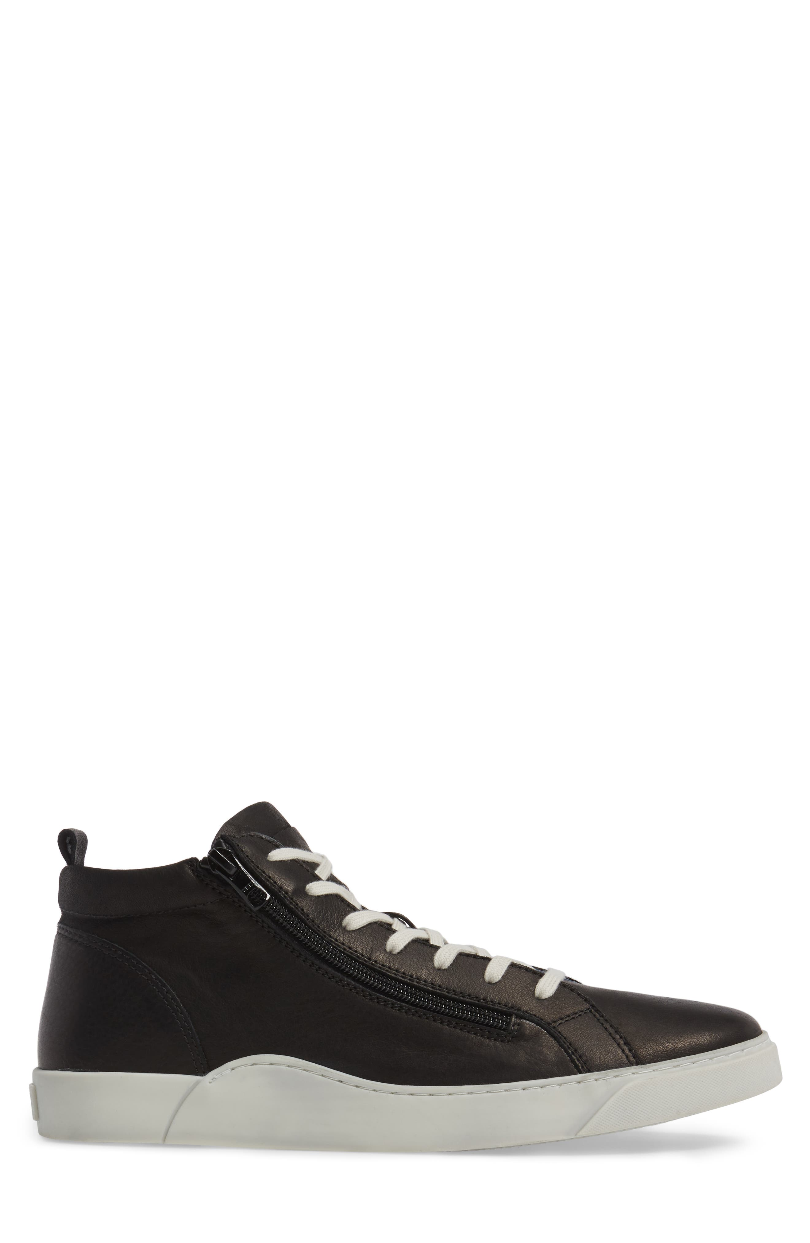 Irwin Mid Top Sneaker,                             Alternate thumbnail 3, color,                             Black Leather