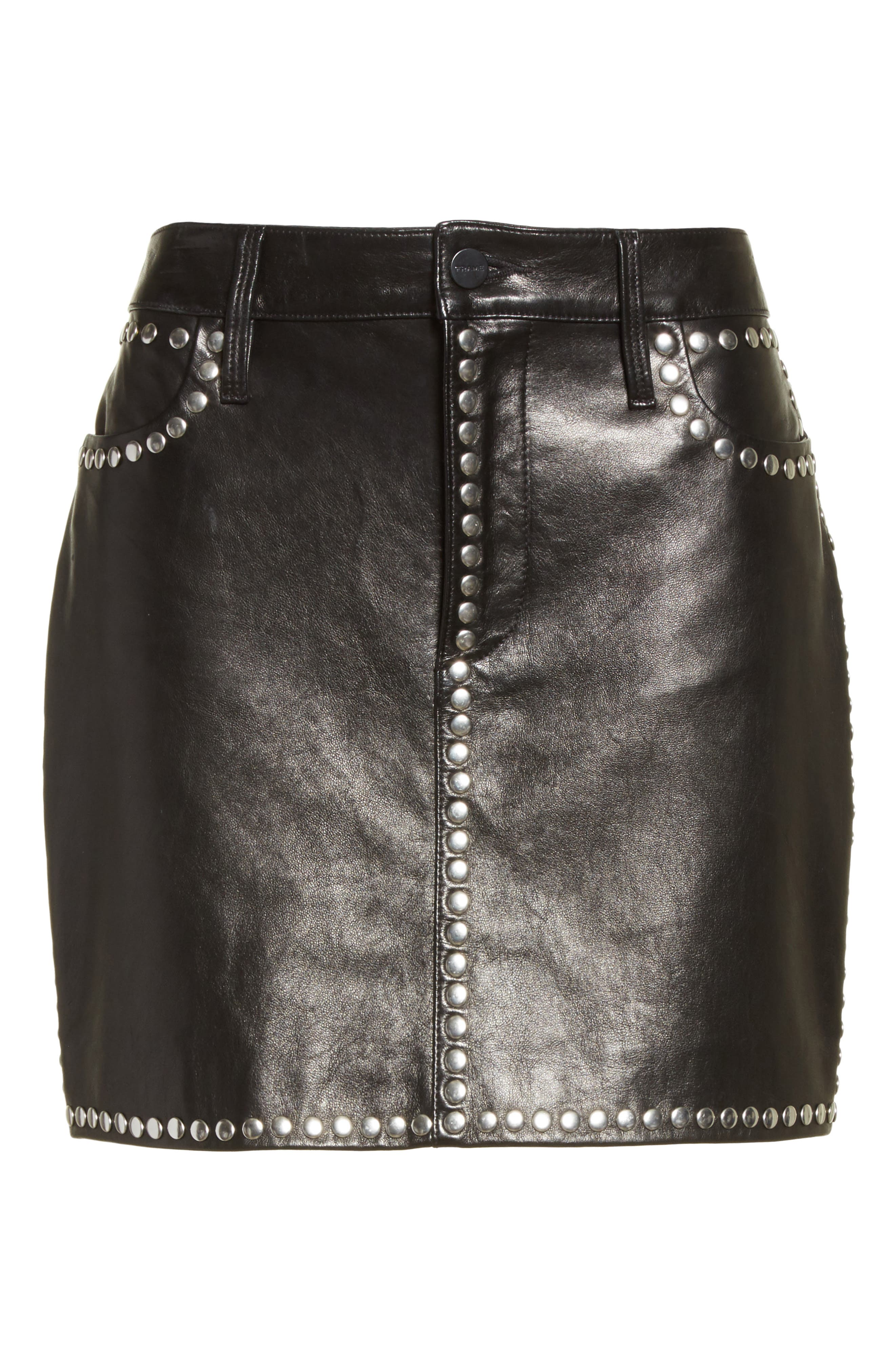Alternate Image 7  - FRAME Studded Leather Miniskirt