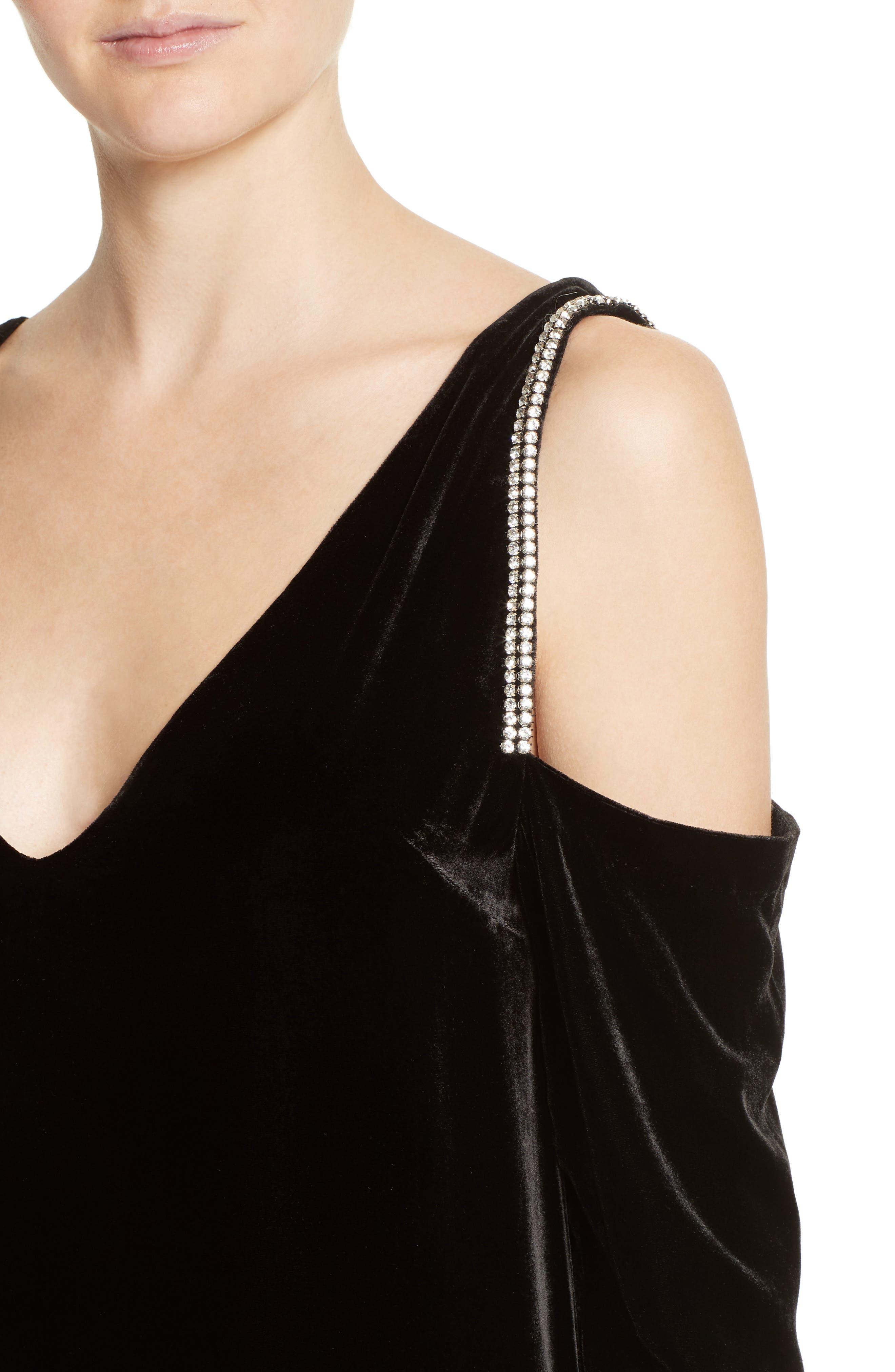 Alternate Image 4  - McQ Alexander McQueen Diam Velvet Cold Shoulder Dress