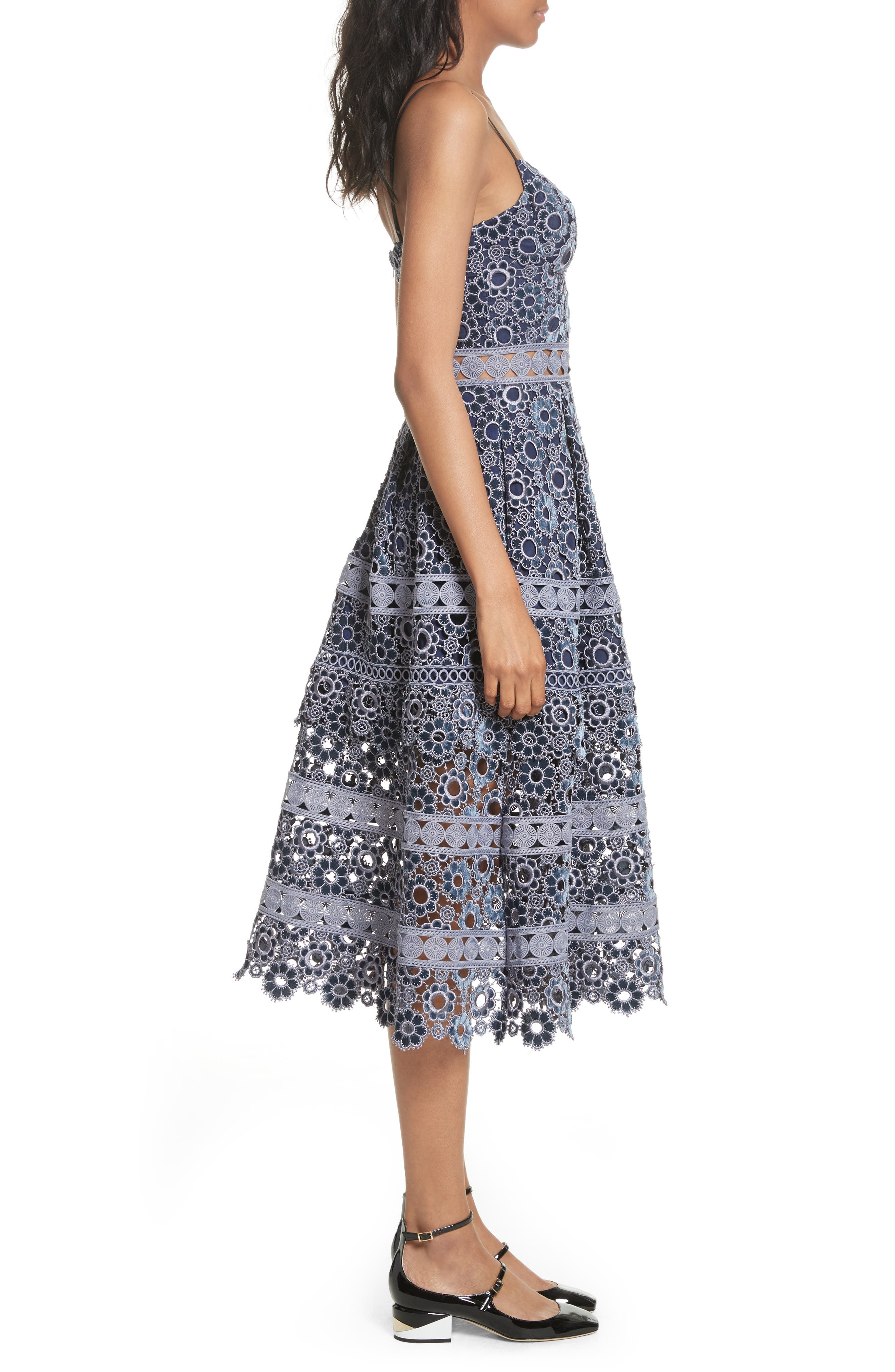 Embroidered Cutwork Midi Dress,                             Alternate thumbnail 3, color,                             Lilac