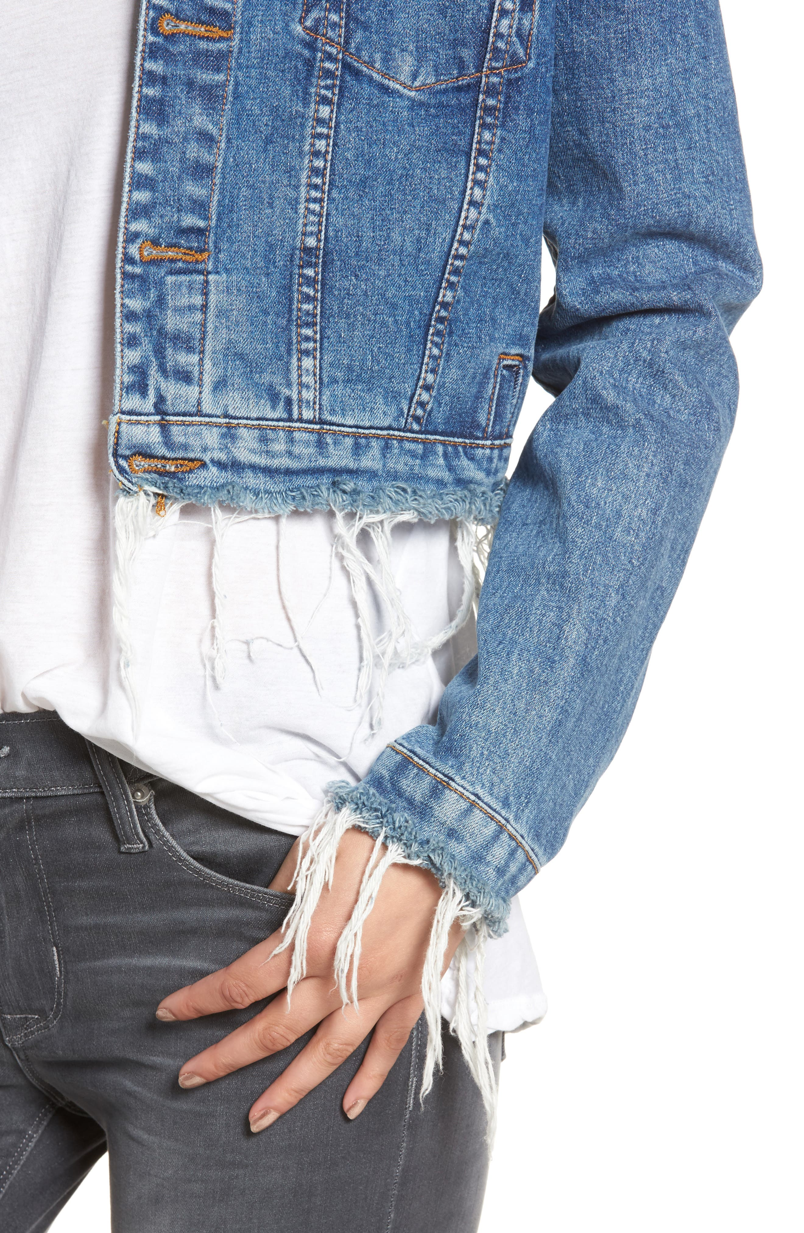 Garrison Crop Denim Jacket,                             Alternate thumbnail 4, color,                             Continuum