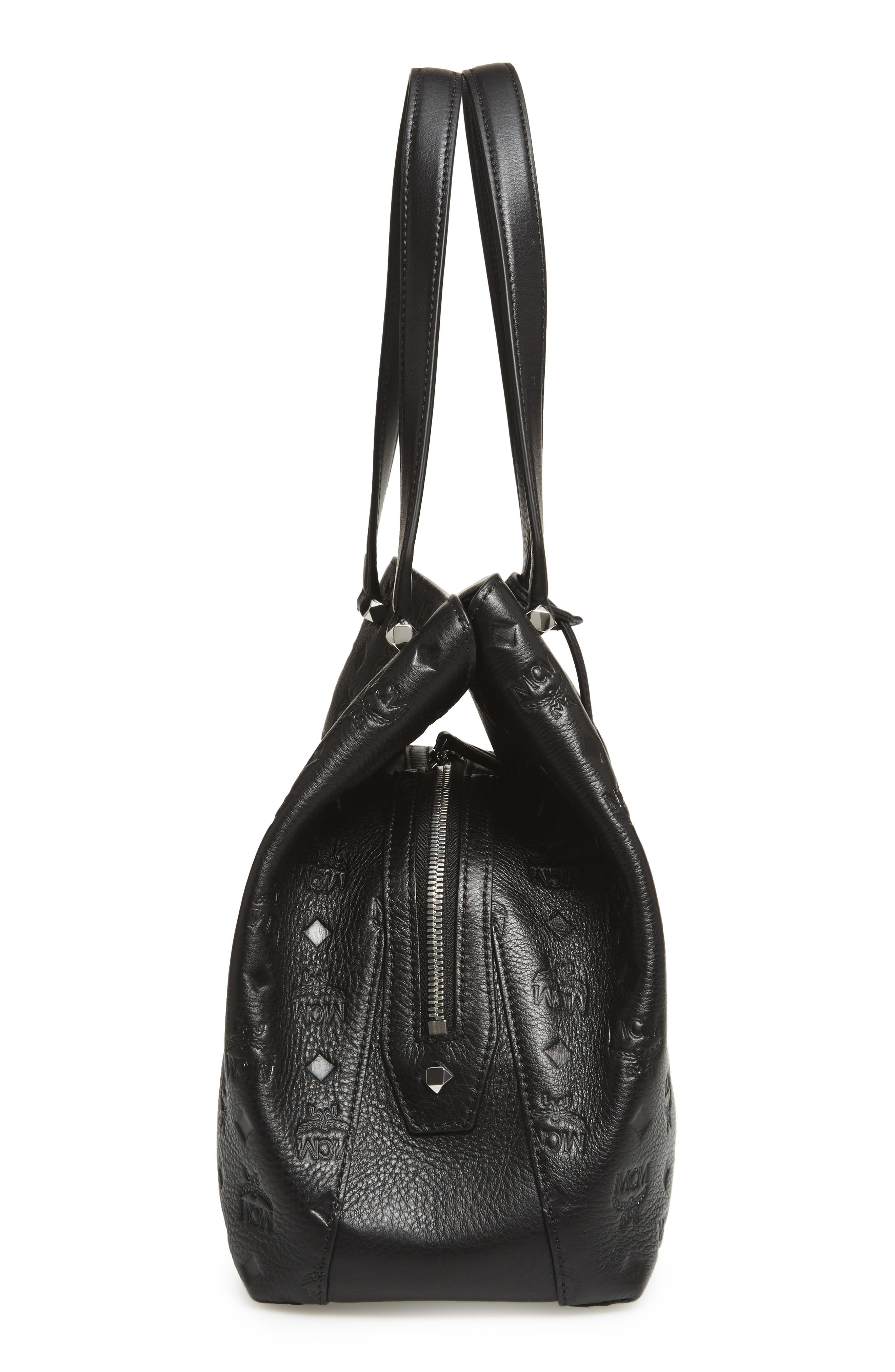 Signature Monogrammed Leather Handbag,                             Alternate thumbnail 5, color,                             Black